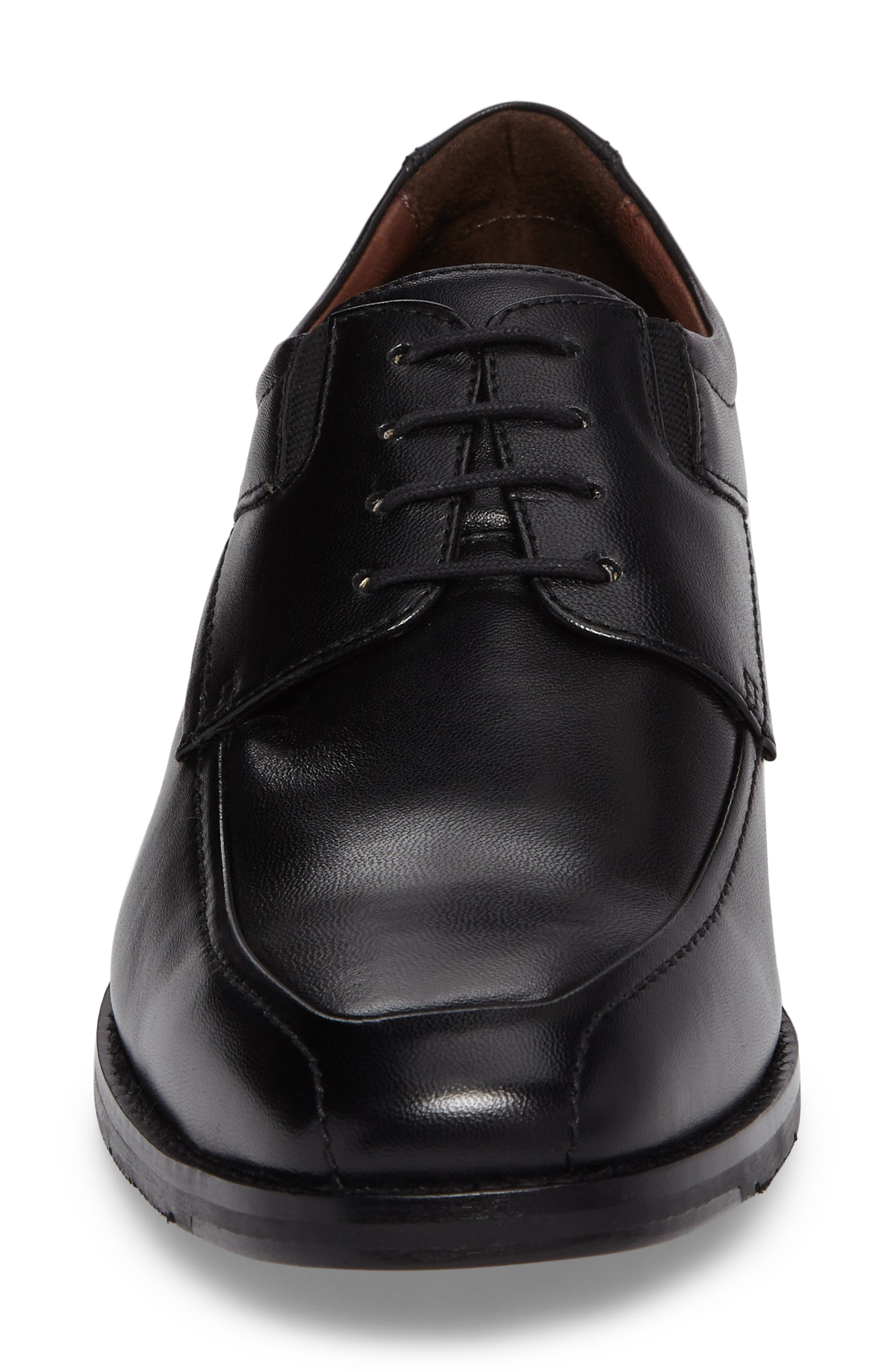 JOHNSTON & MURPHY, Apron Toe Derby, Alternate thumbnail 4, color, BLACK