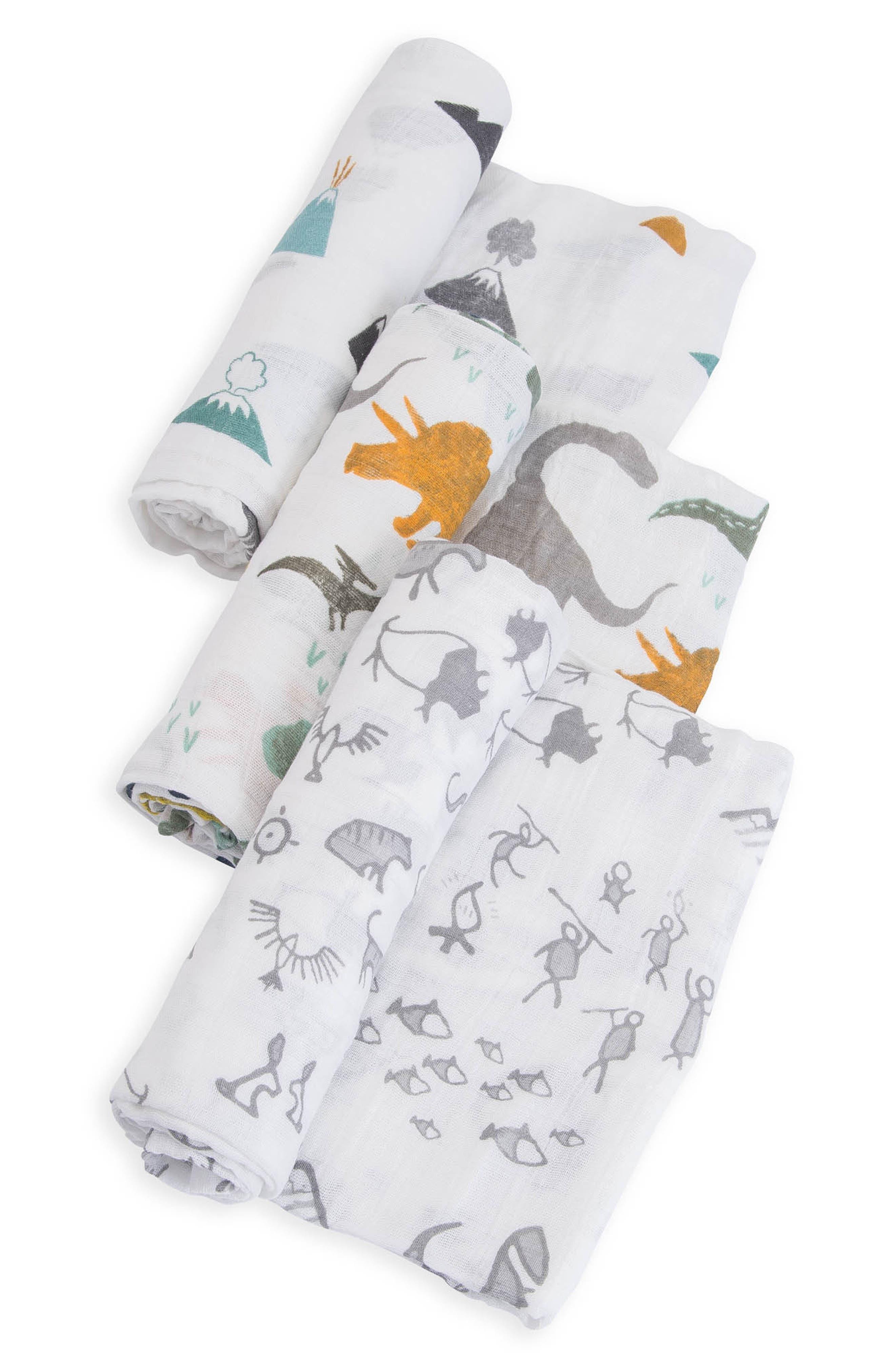 LITTLE UNICORN, 3-Pack Cotton Muslin Blankets, Alternate thumbnail 3, color, DINO FRIENDS