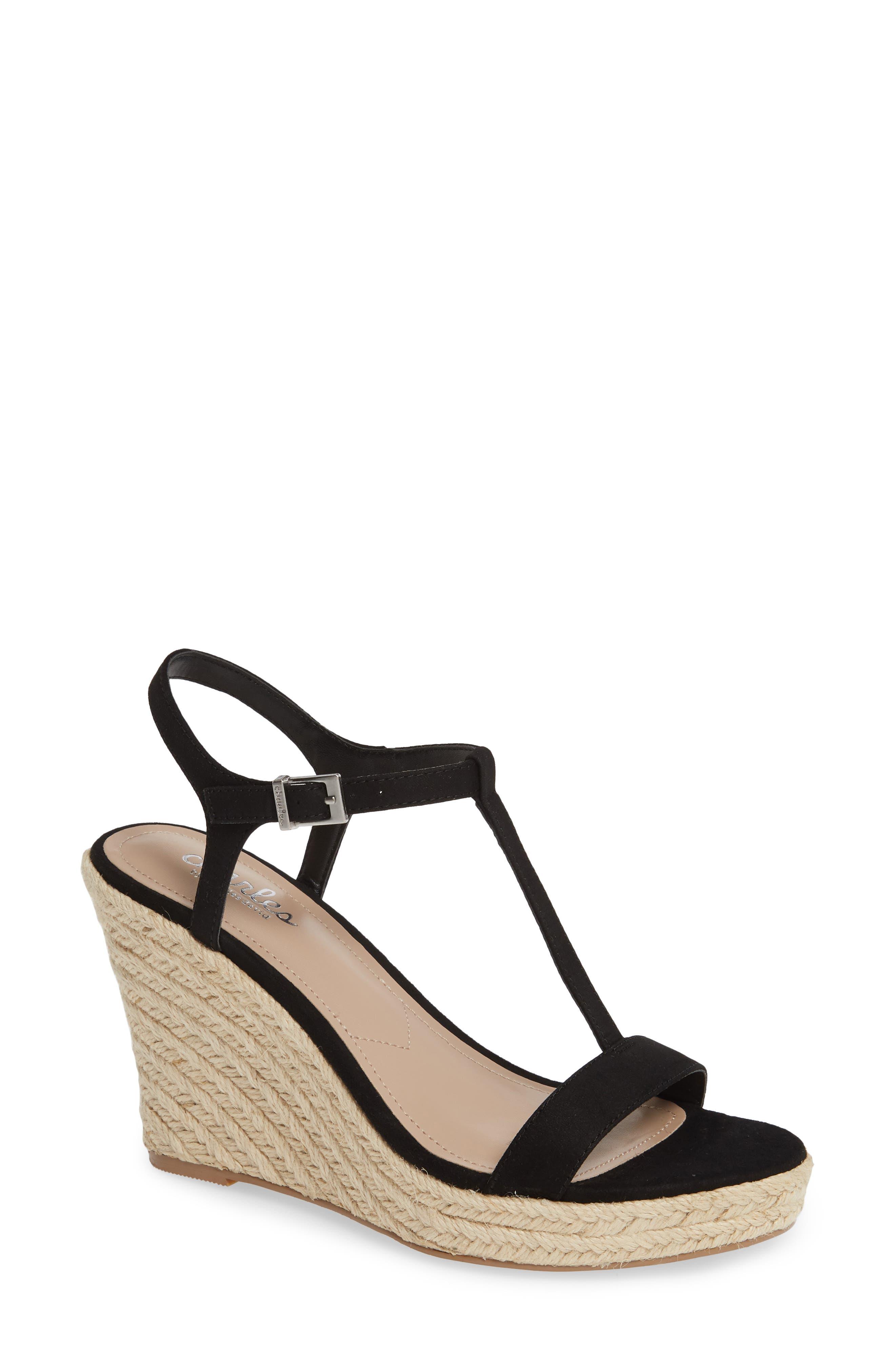 CHARLES BY CHARLES DAVID Lili T-Strap Wedge Sandal, Main, color, BLACK FABRIC