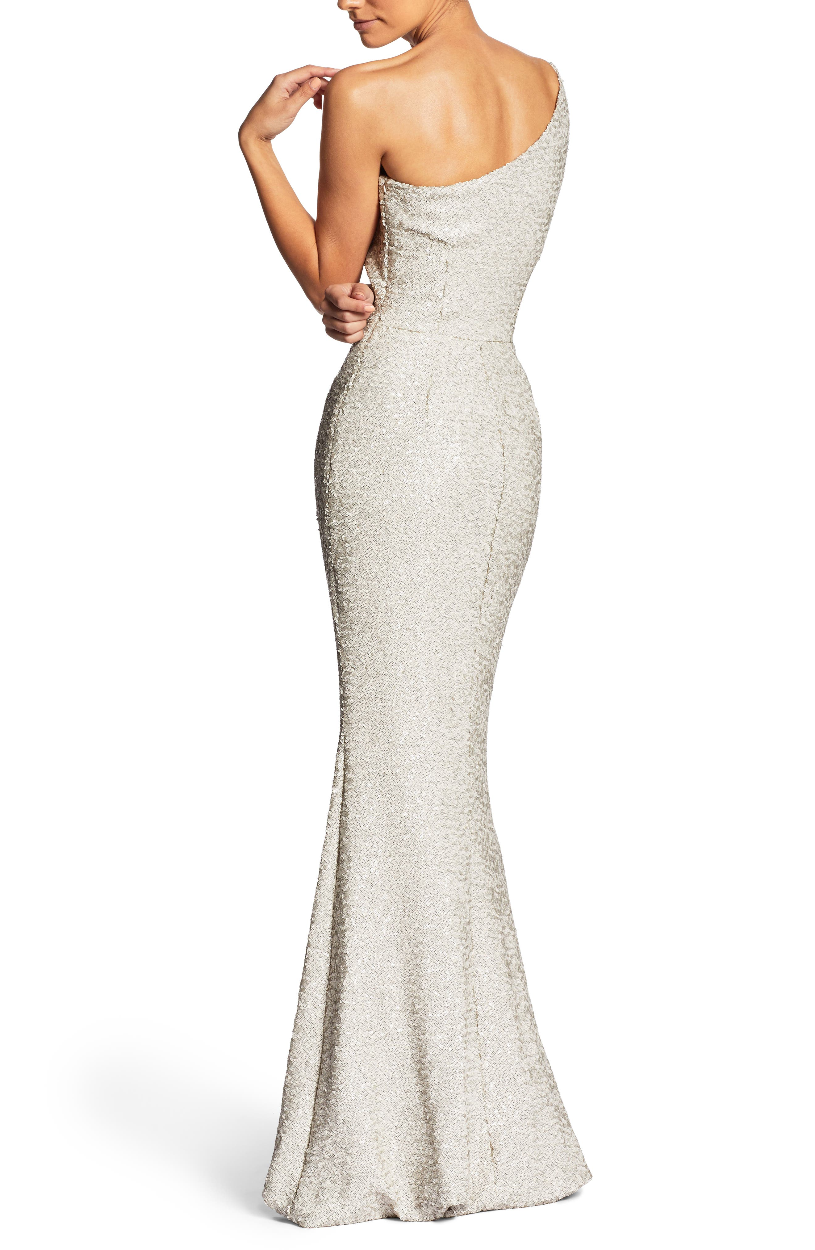 DRESS THE POPULATION, Bella One-Shoulder Mermaid Gown, Alternate thumbnail 2, color, 020