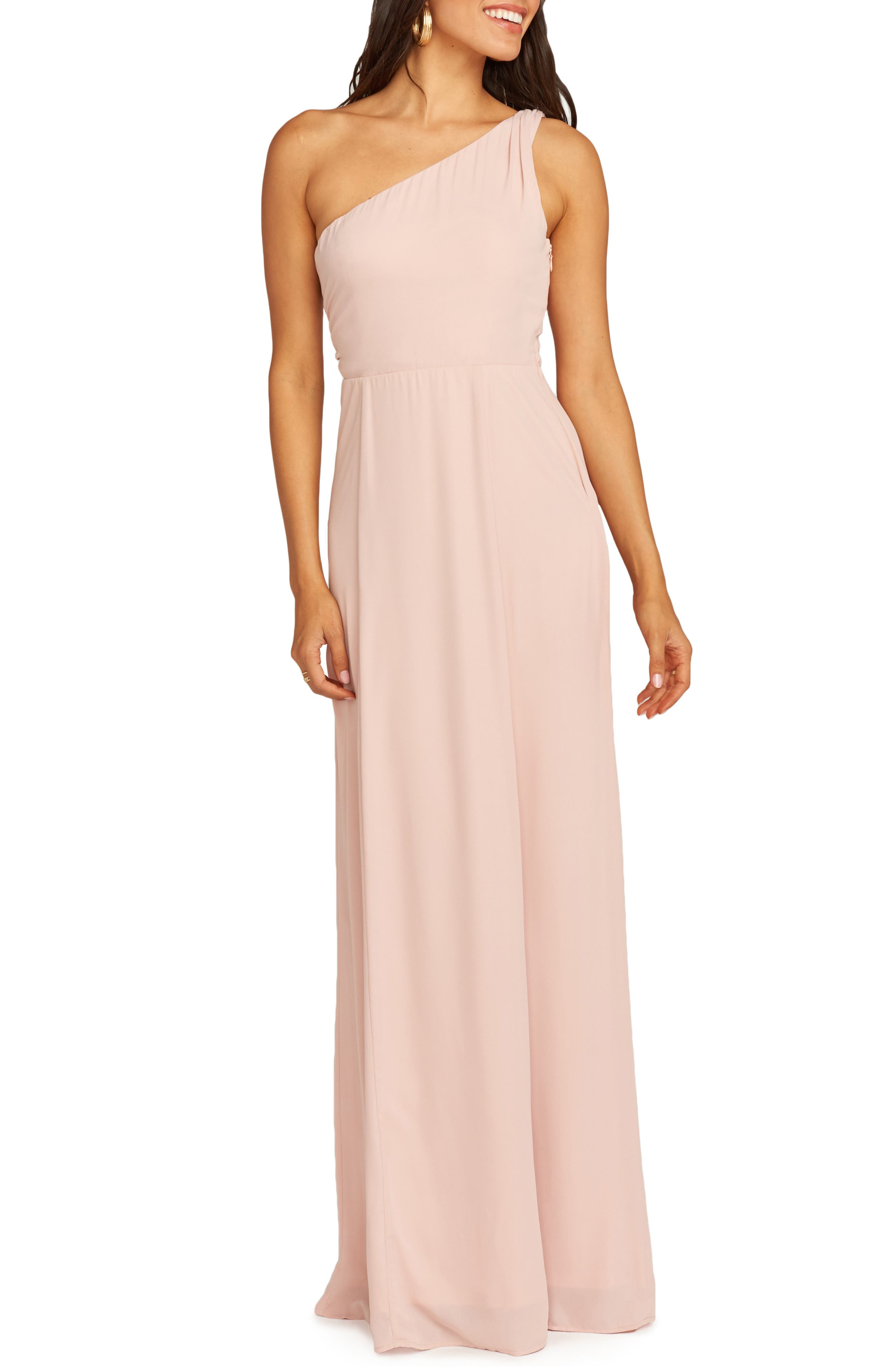Show Me Your Mumu Eliza One-Shoulder Gown, Pink