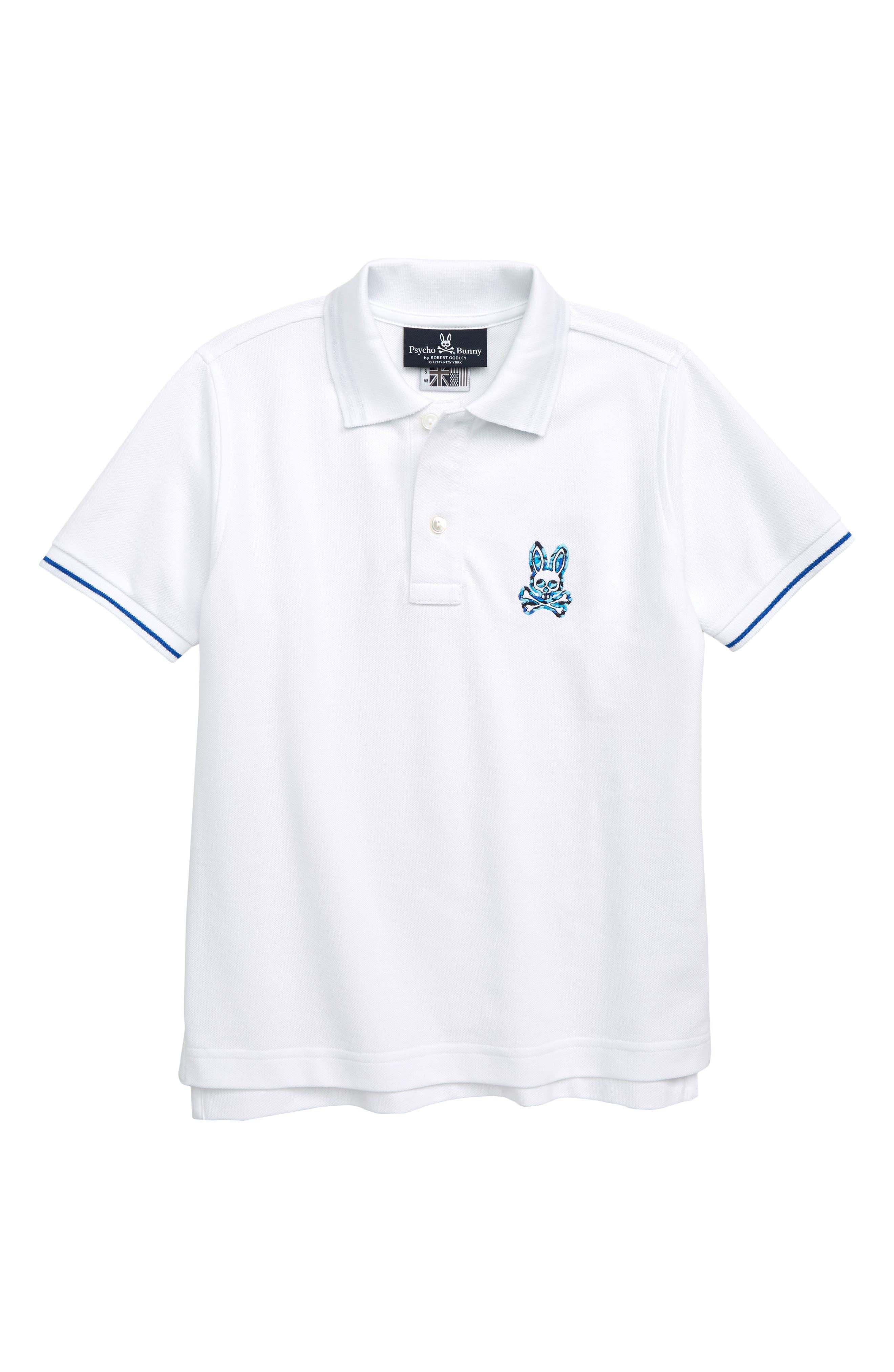 PSYCHO BUNNY Neon Camo Embroidered Polo, Main, color, WHITE