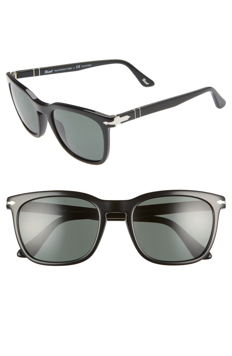 Persol 55MM POLARIZED SQUARE SUNGLASSES - BLACK/ BLACK