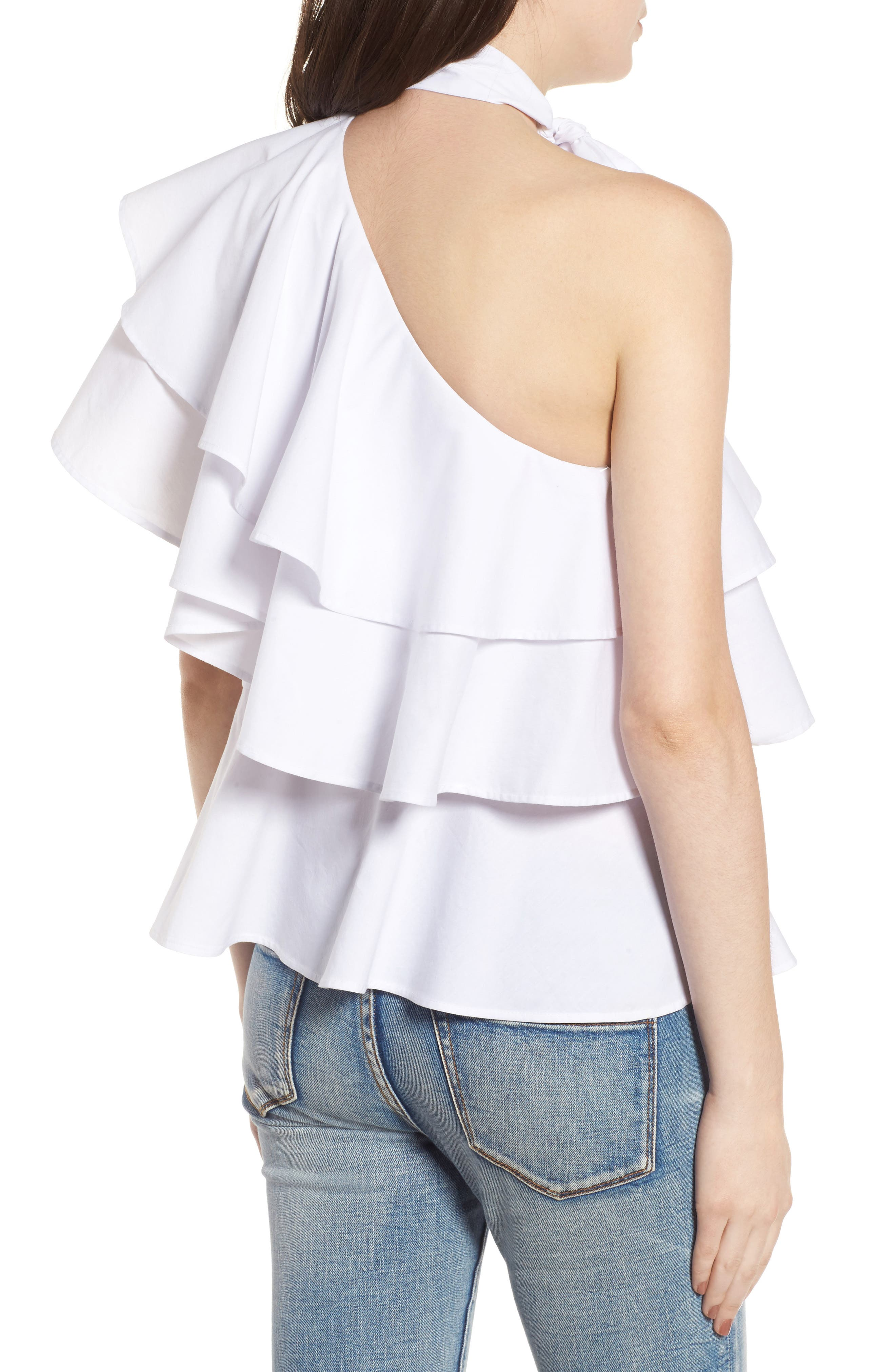 LEITH, One-Shoulder Ruffle Top, Alternate thumbnail 2, color, 100