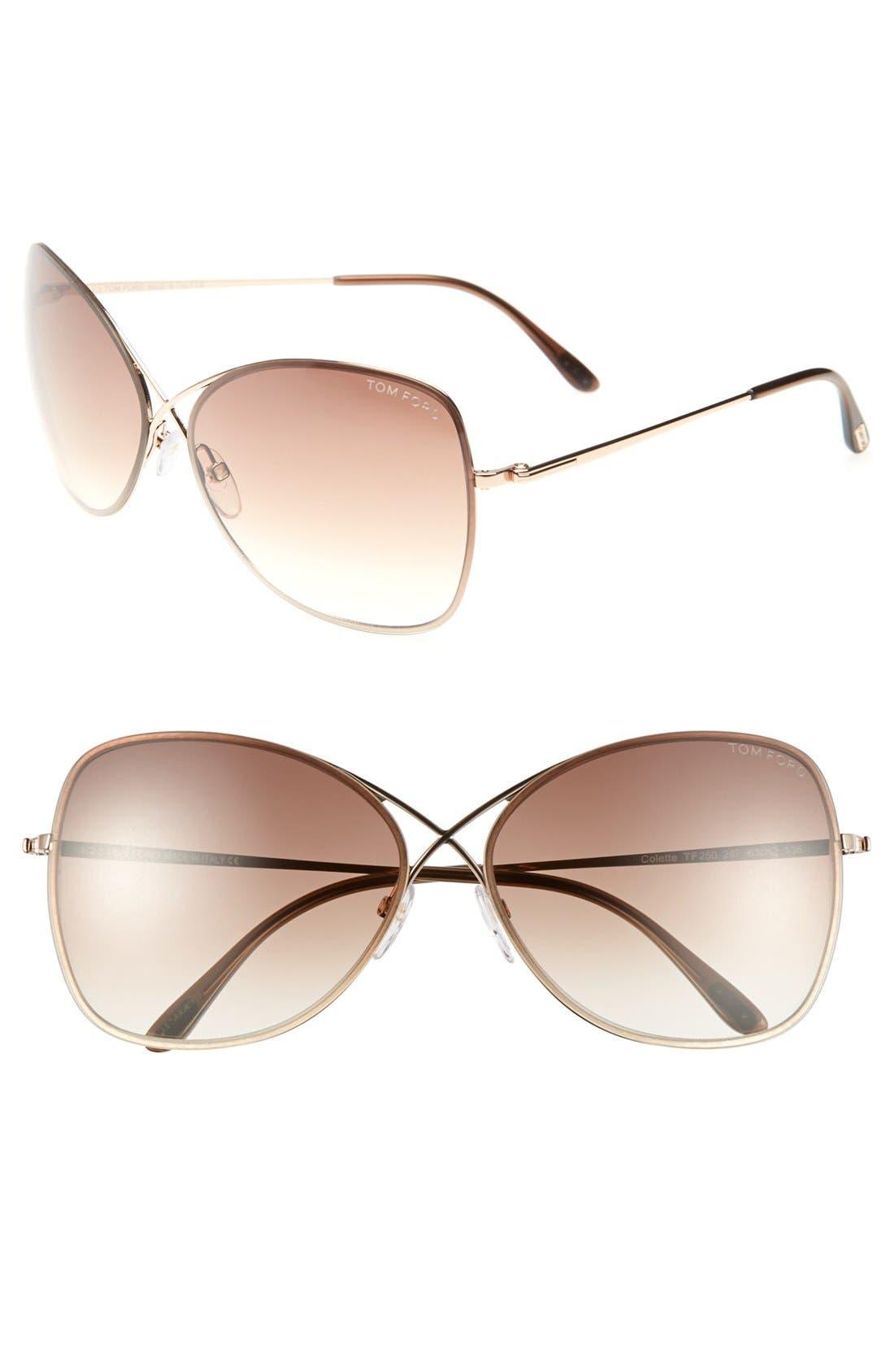 TOM FORD 'Colette' 63mm Oversize Sunglasses, Main, color, SHINY ROSE GOLD/ DARK BROWN