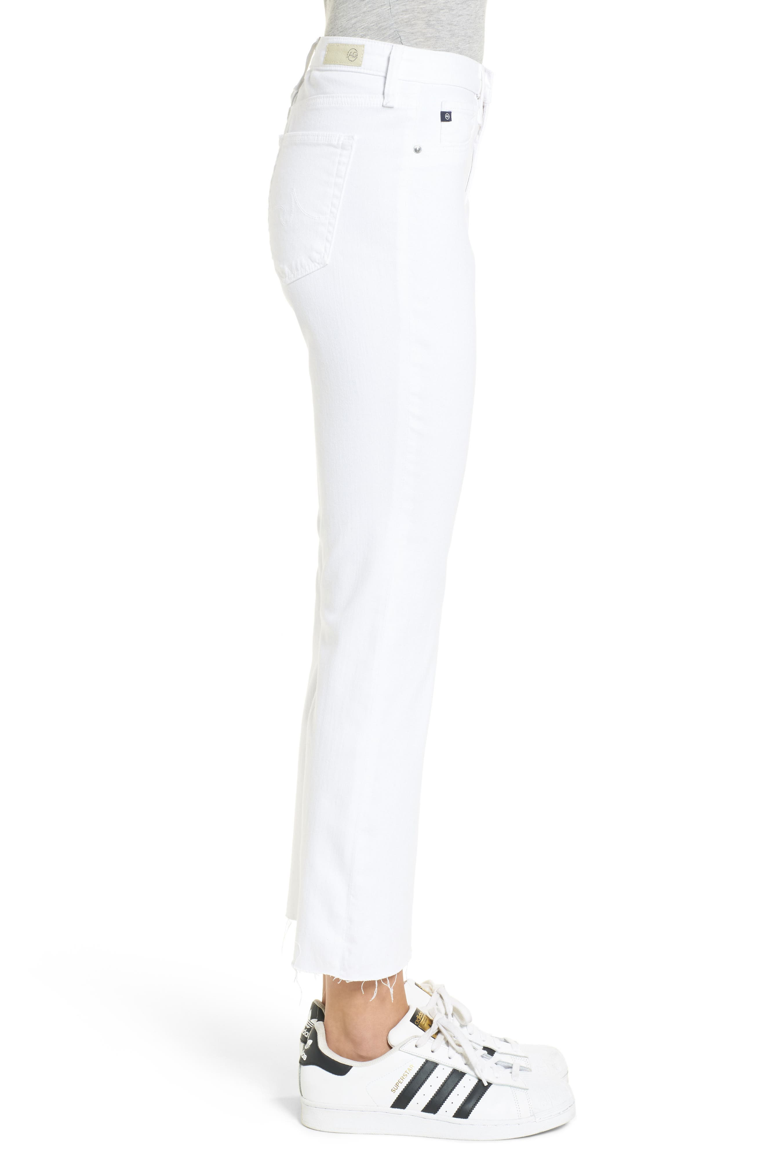 AG, Jodi High Waist Crop Jeans, Alternate thumbnail 4, color, WHITE