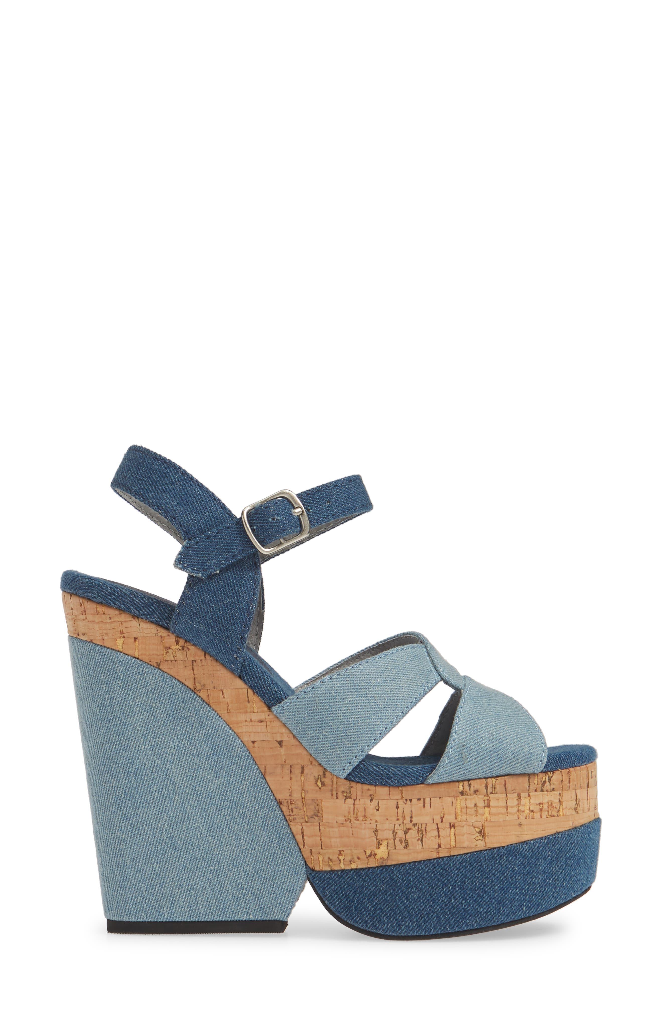 JEFFREY CAMPBELL, Wedge Platform Sandal, Alternate thumbnail 3, color, BLUE DENIM COMBO/ CORK