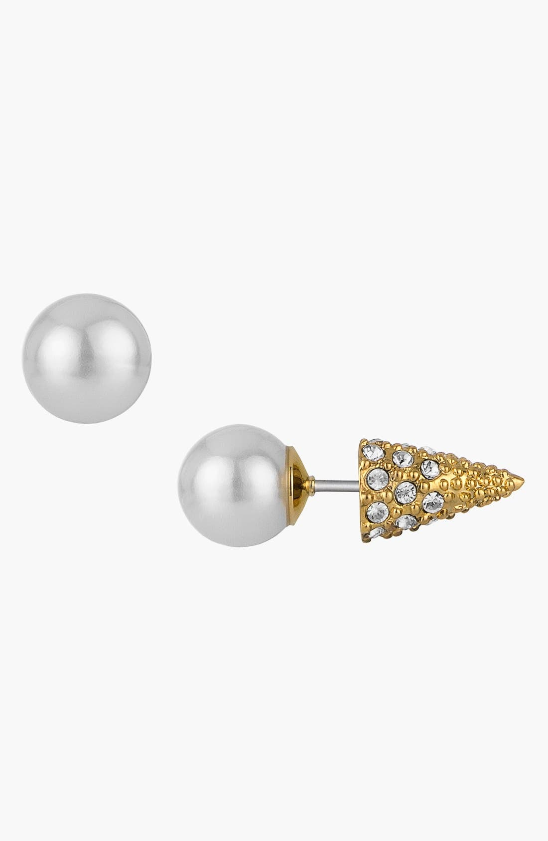 SAM EDELMAN, Reversible Faux Pearl & Spike Stud Earrings, Main thumbnail 1, color, 100