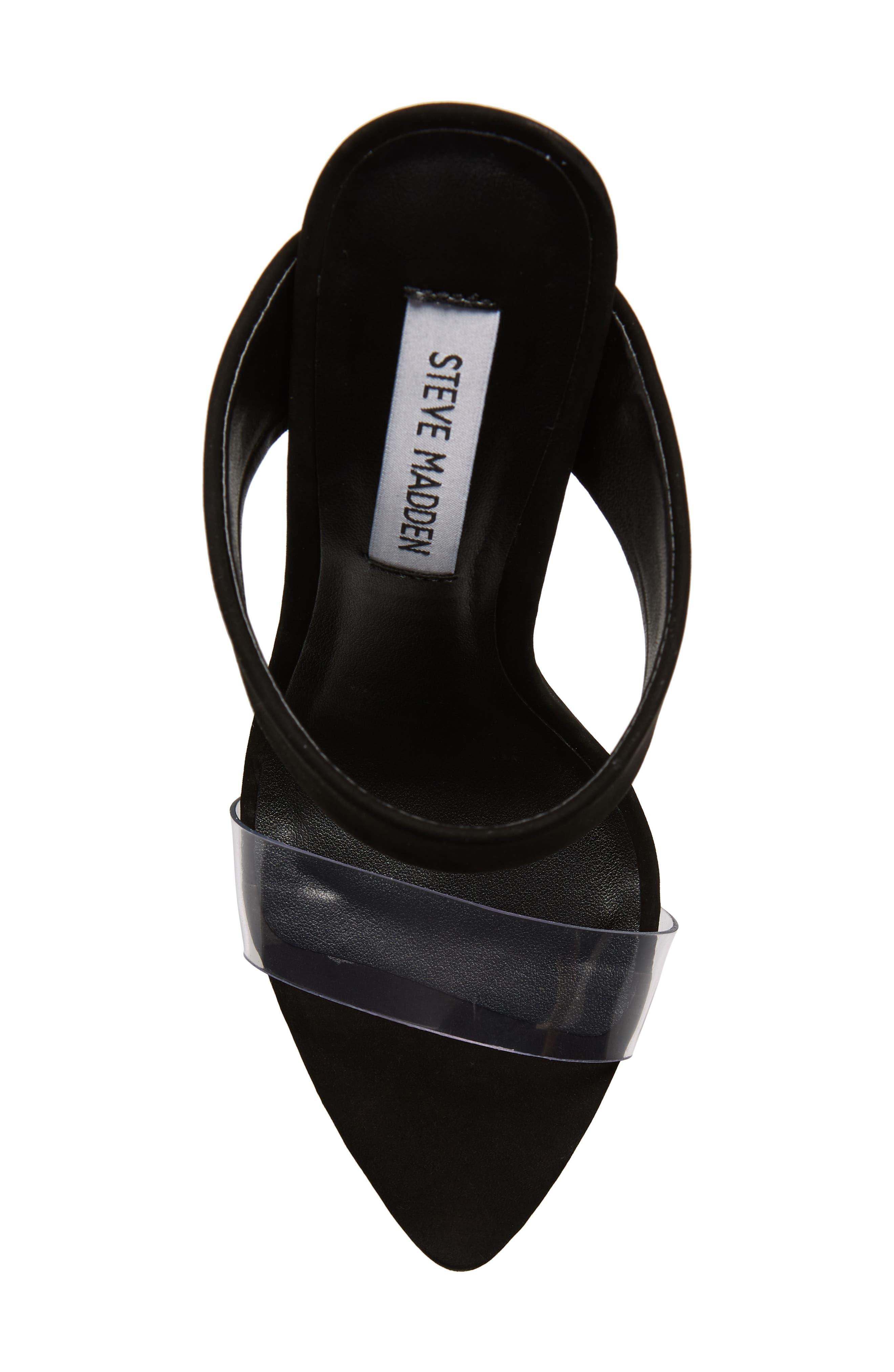 STEVE MADDEN, Amaya Clear Slide Sandal, Alternate thumbnail 5, color, BLACK NUBUCK LEATHER