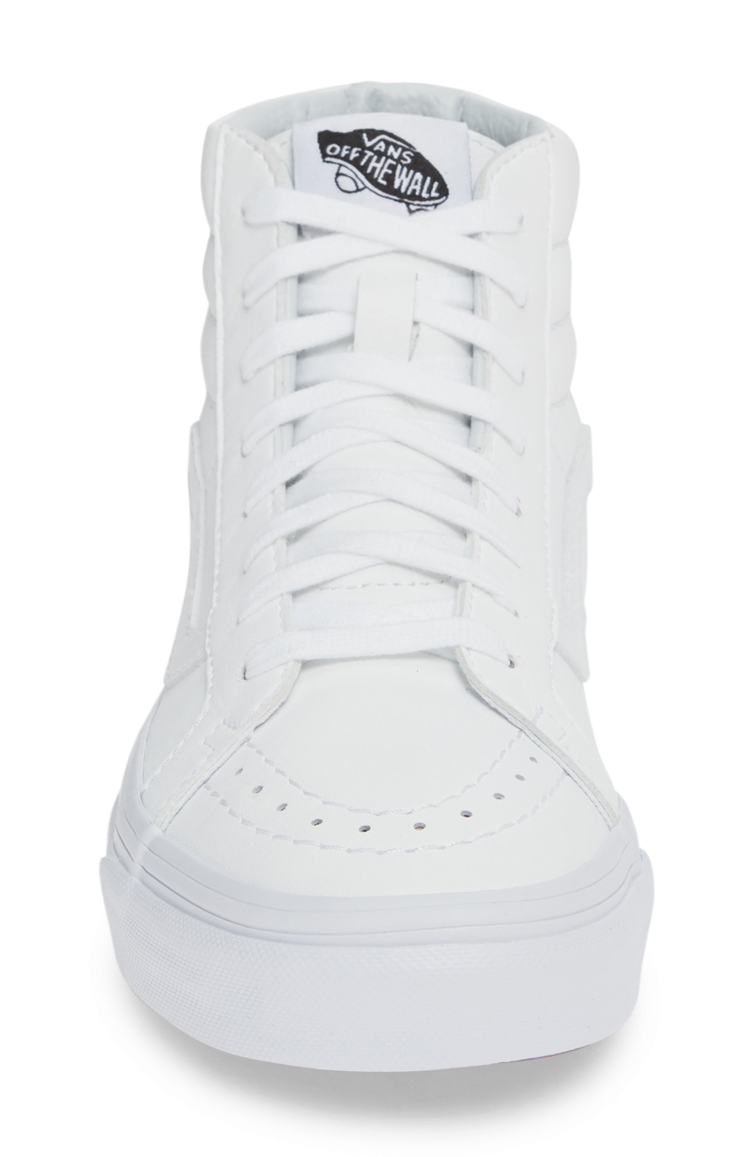 VANS, 'Sk8-Hi Reissue' Sneaker, Alternate thumbnail 4, color, TRUE WHITE