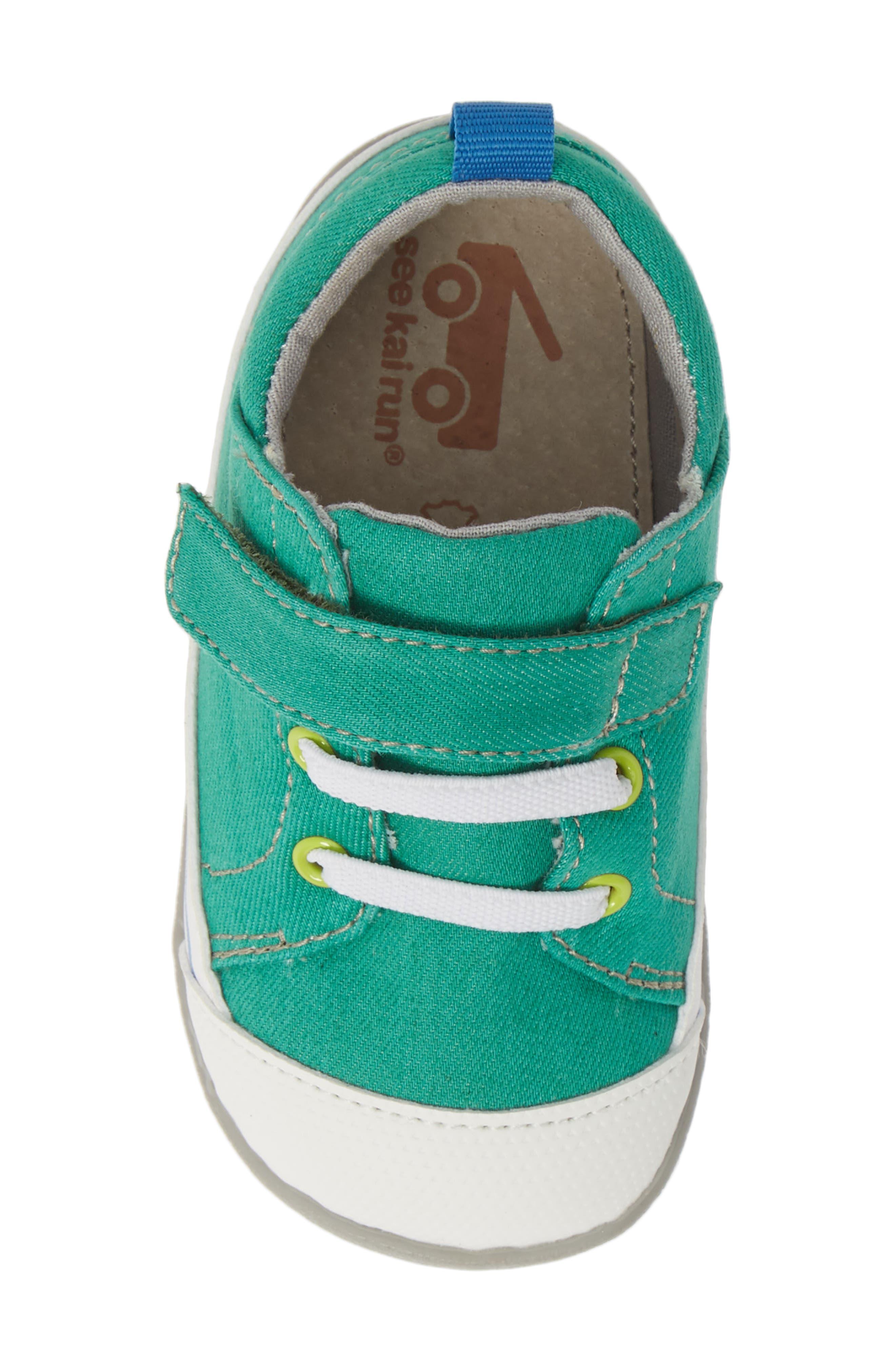 SEE KAI RUN, Stevie II Sneaker, Alternate thumbnail 5, color, GREEN/ GREEN DENIM