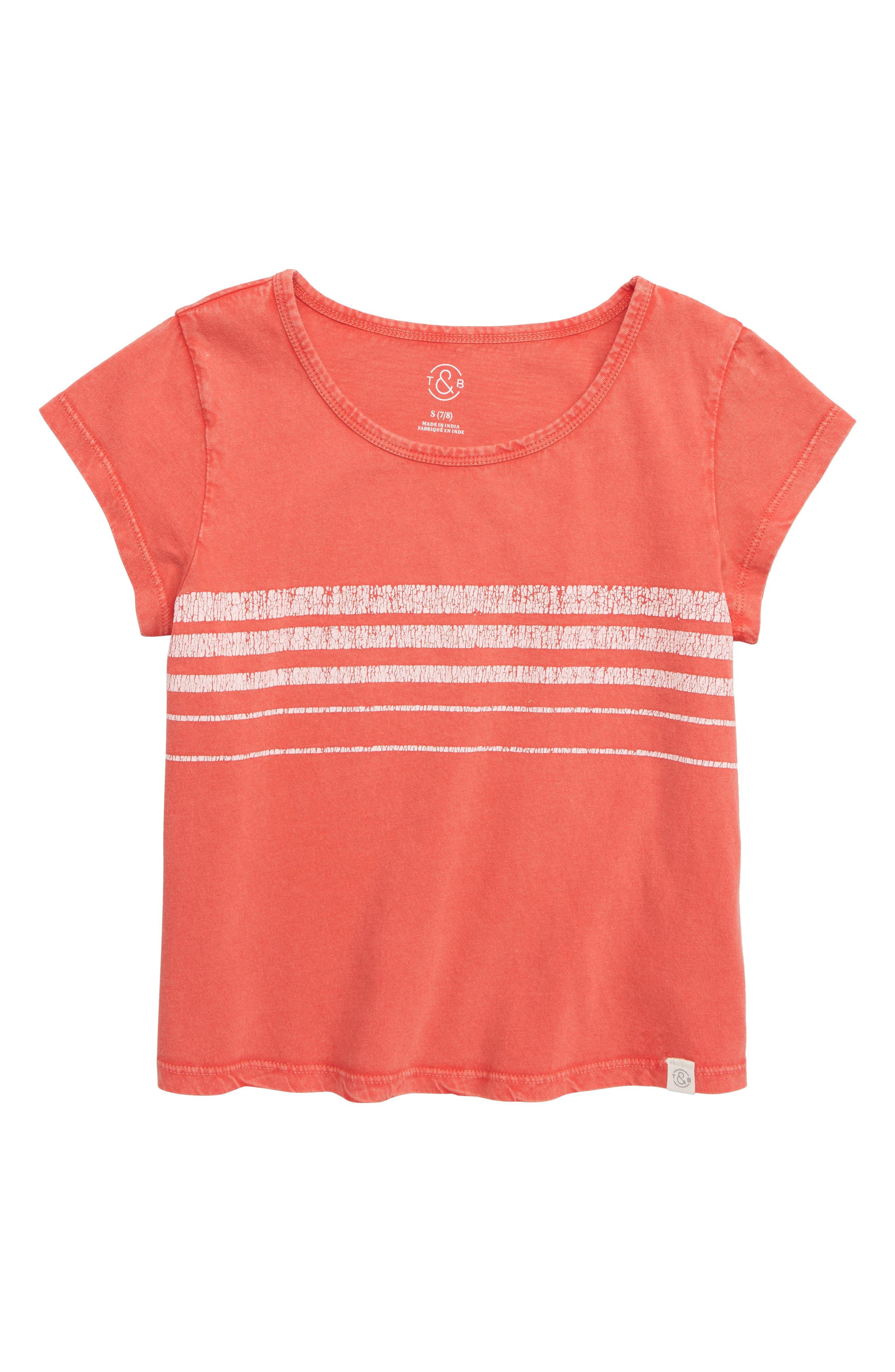 TREASURE & BOND Stripe Tee, Main, color, RED BITTERSWEET