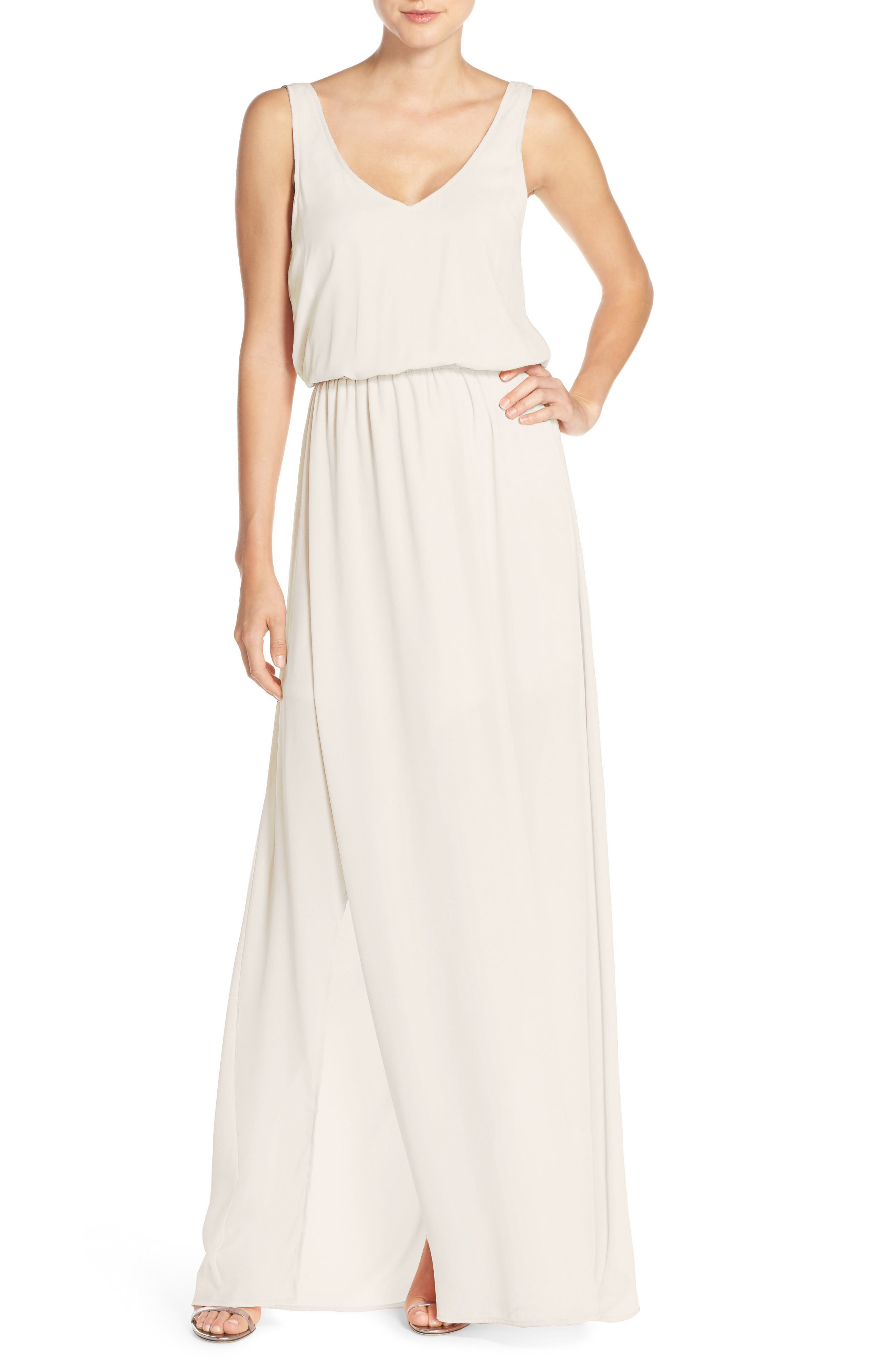 SHOW ME YOUR MUMU, Kendall Soft V-Back A-Line Gown, Main thumbnail 1, color, SHOW ME THE RING CRISP