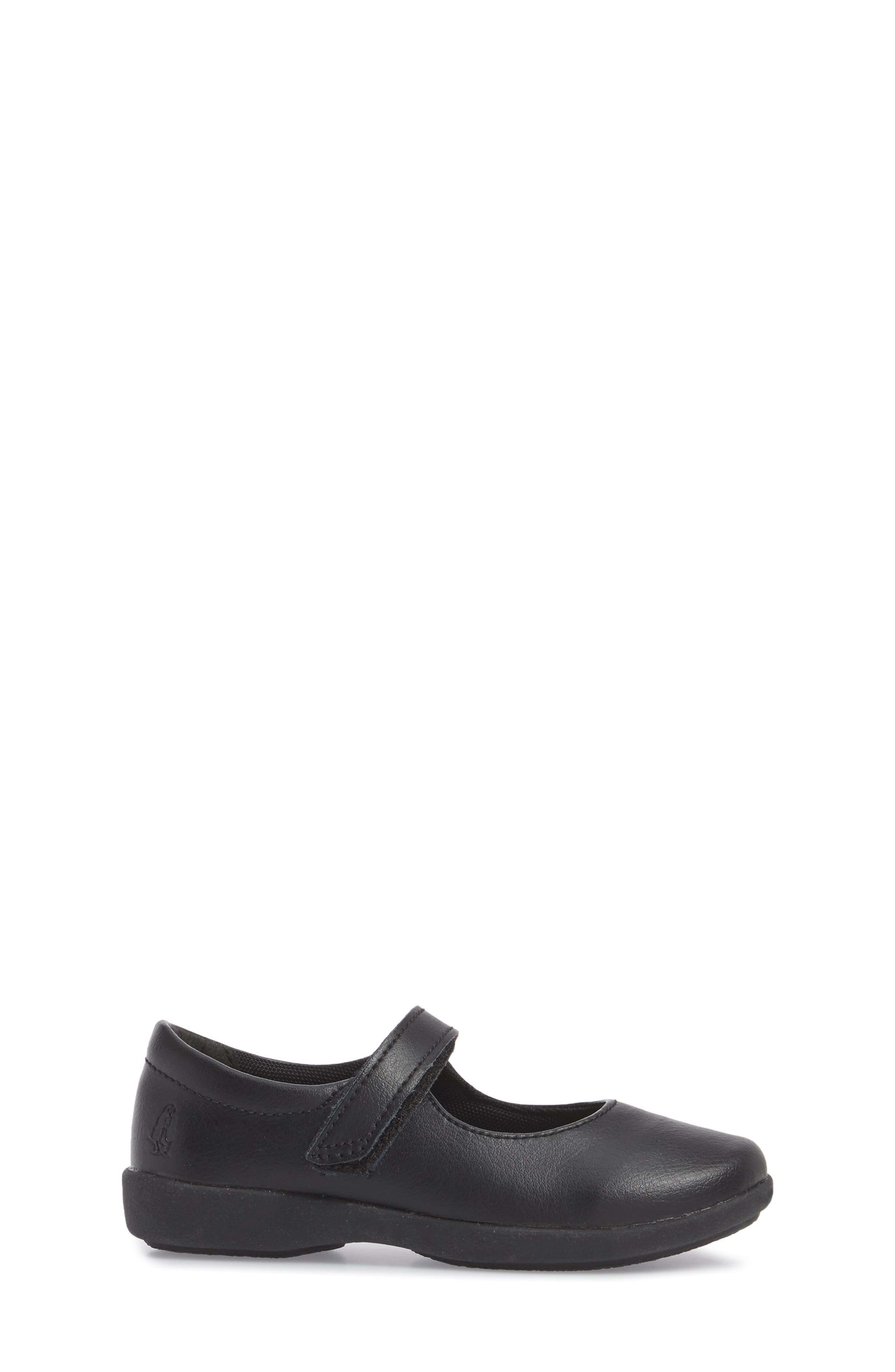 HUSH PUPPIES<SUP>®</SUP>, Lexi Mary Jane Flat, Alternate thumbnail 3, color, BLACK LEATHER