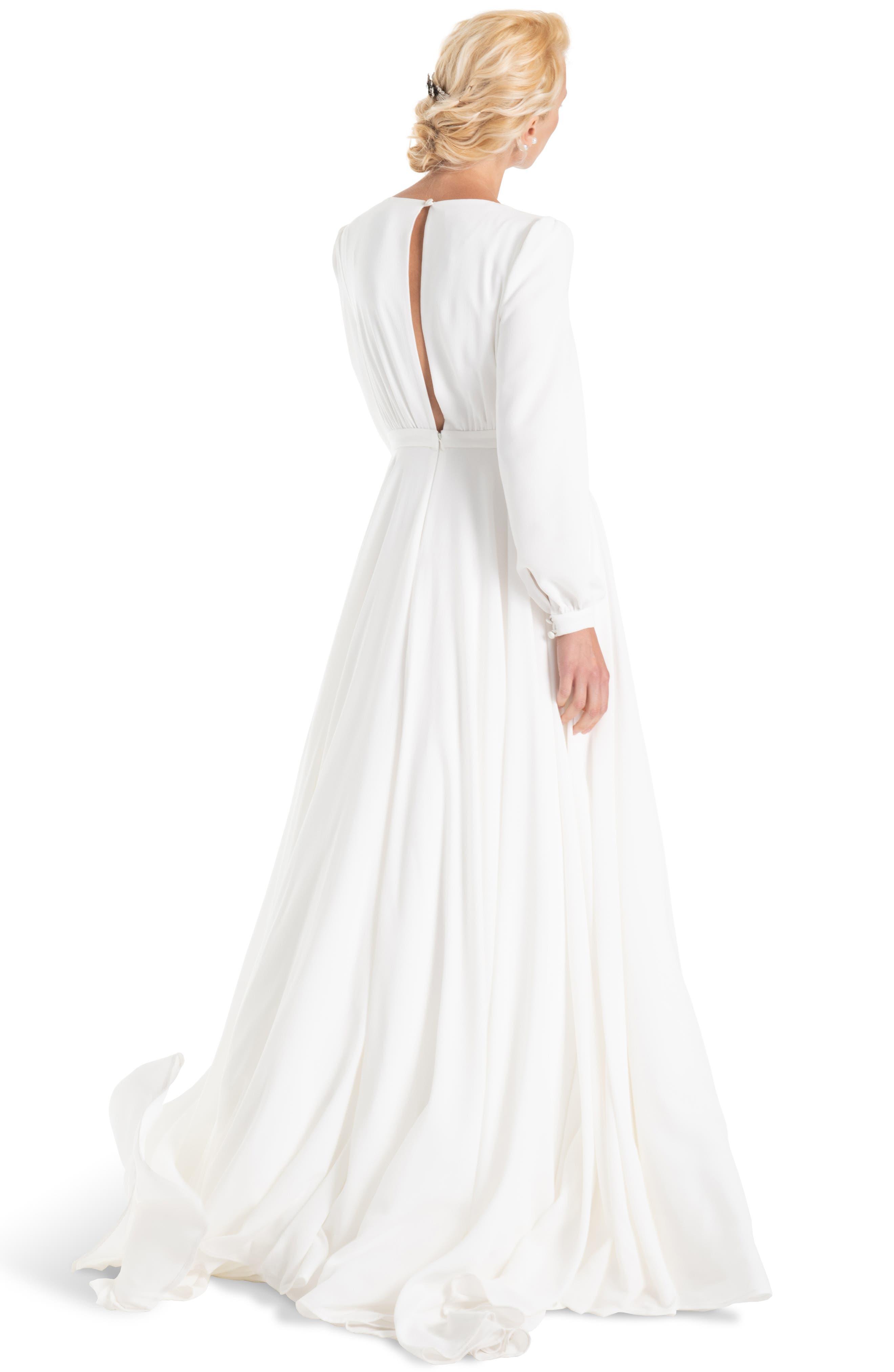 JOANNA AUGUST, Floyd V-Neck Long Sleeve Gown, Alternate thumbnail 2, color, WHITE
