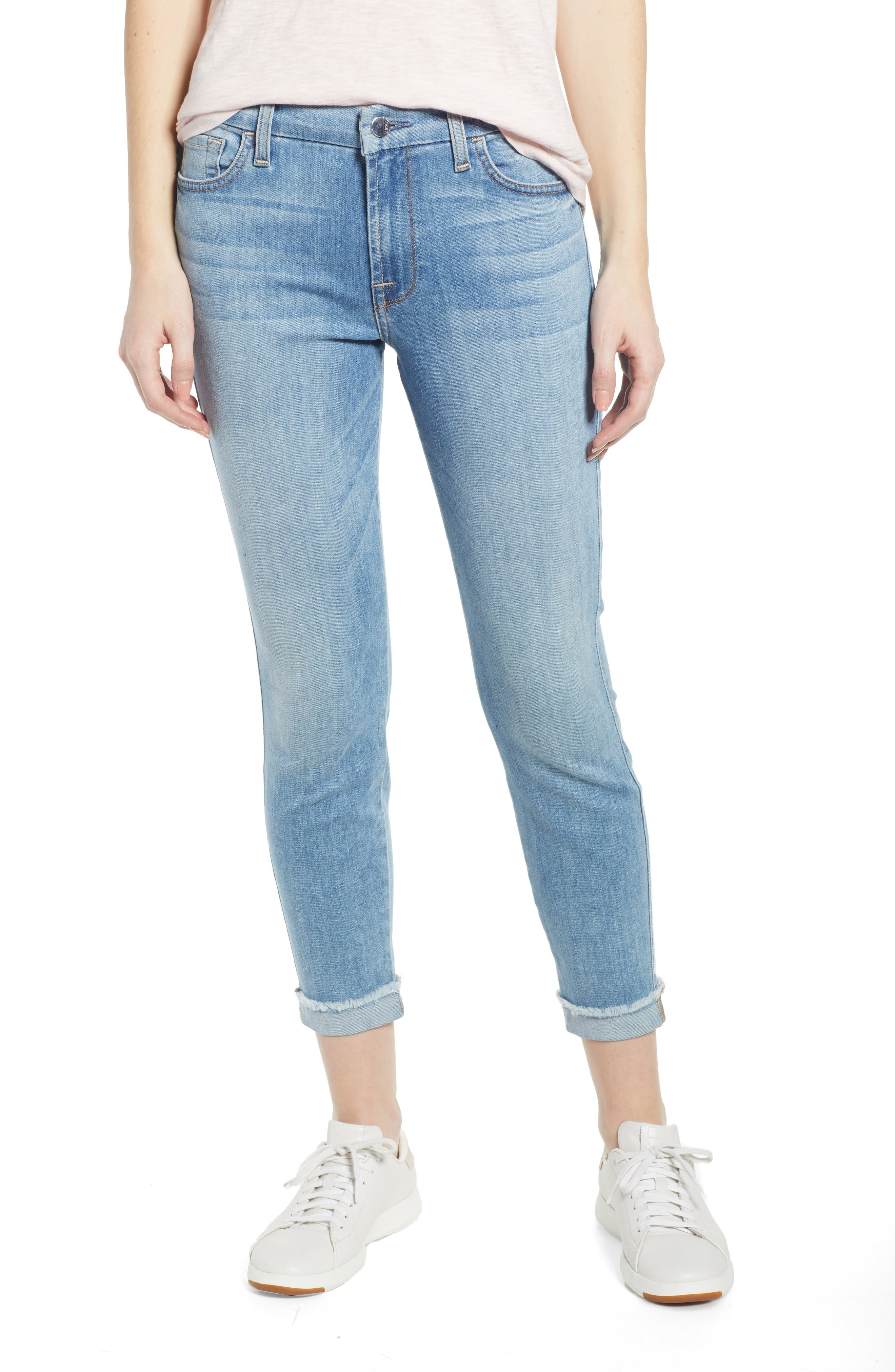 JEN7 BY 7 FOR ALL MANKIND, Cuffed Crop Skinny Jeans, Main thumbnail 1, color, LA QUINTA