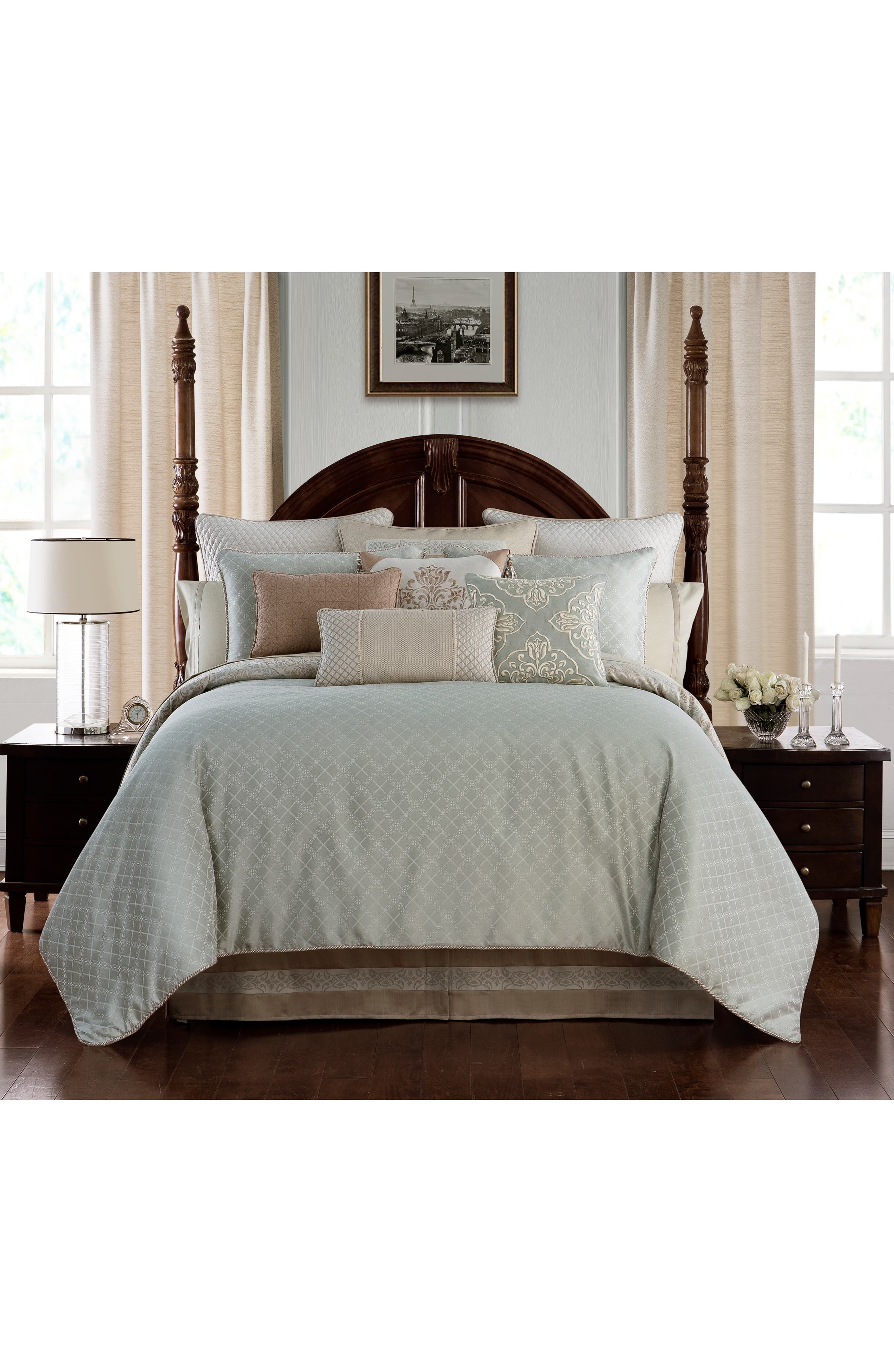 WATERFORD, Gwyneth Reversible Comforter, Sham & Bedskirt Set, Alternate thumbnail 2, color, PALE BLUE