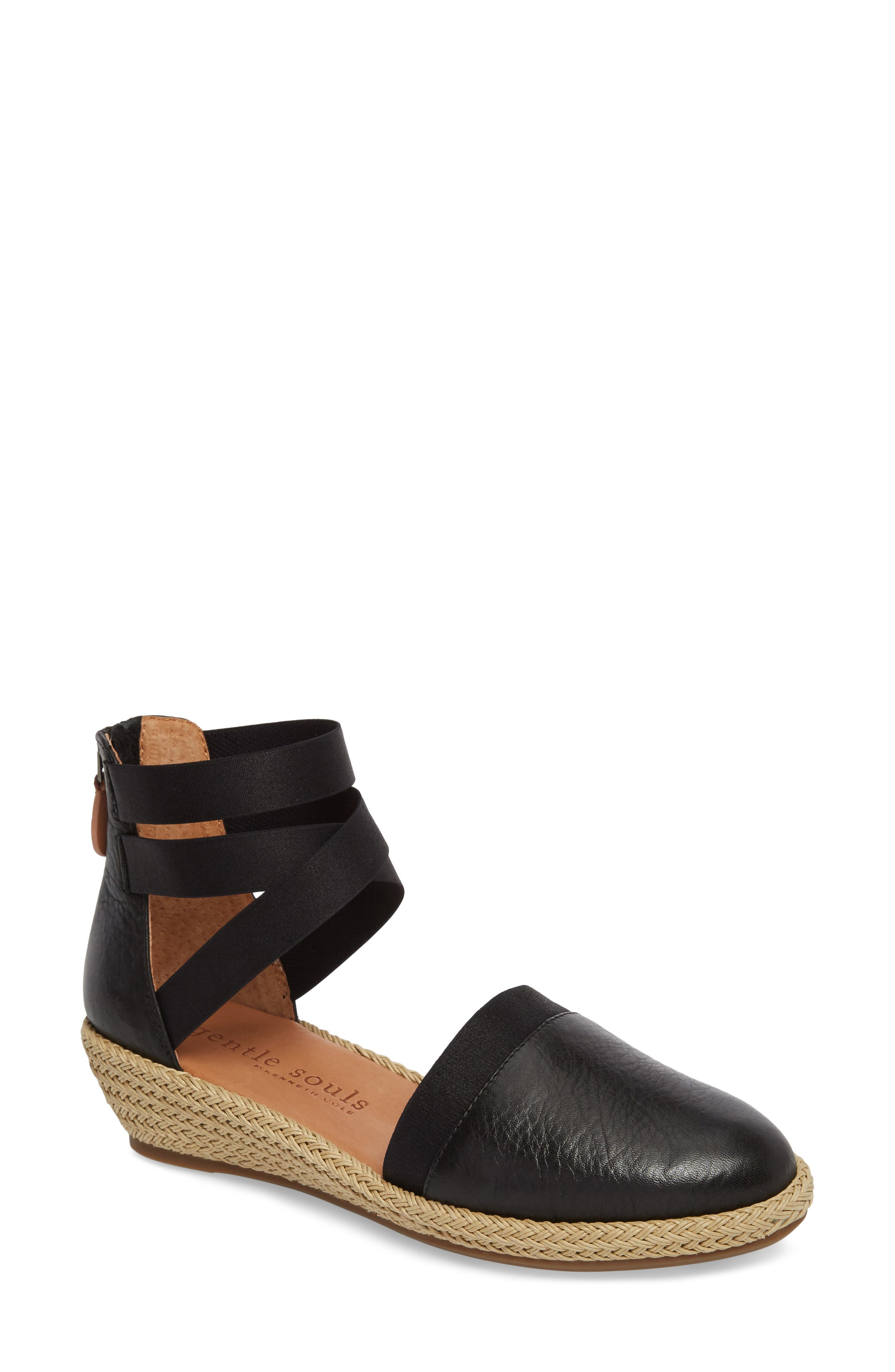 GENTLE SOULS BY KENNETH COLE, Beth Espadrille Sandal, Main thumbnail 1, color, BLACK LEATHER