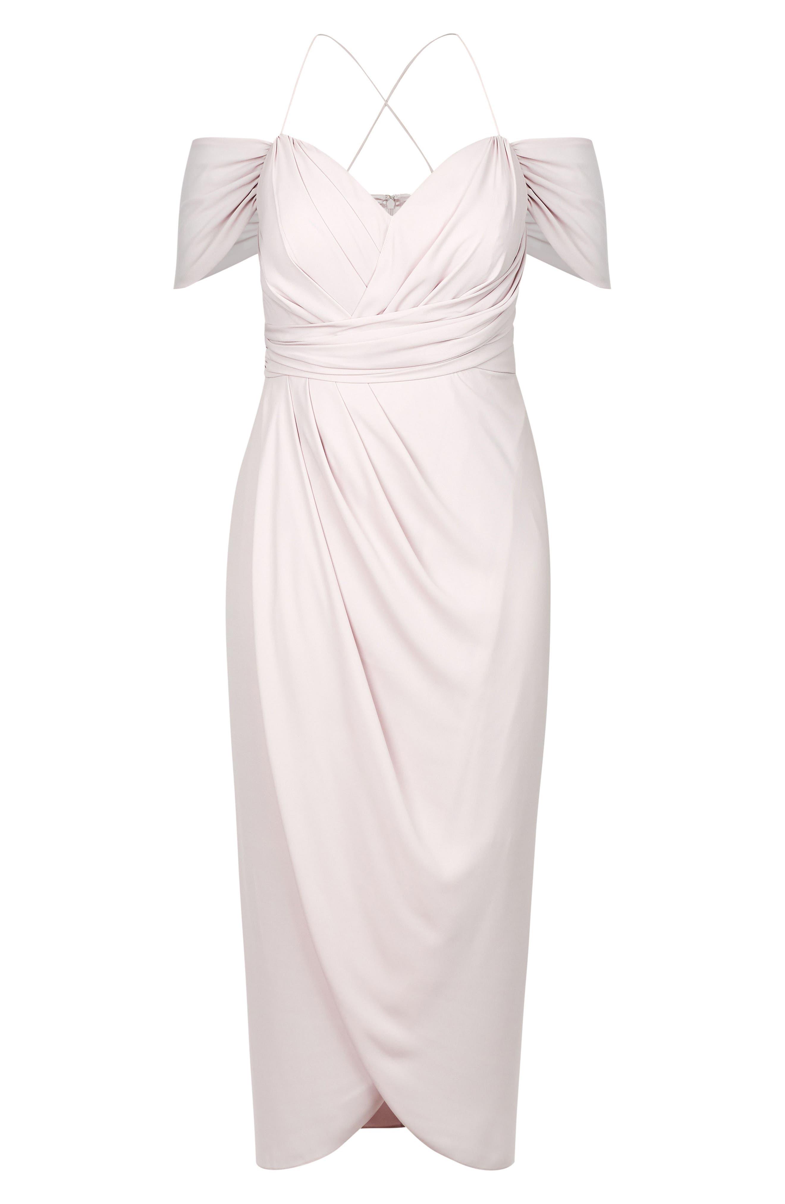 CITY CHIC, Entwine Cold Shoulder Maxi Dress, Alternate thumbnail 3, color, SOFT BLUSH