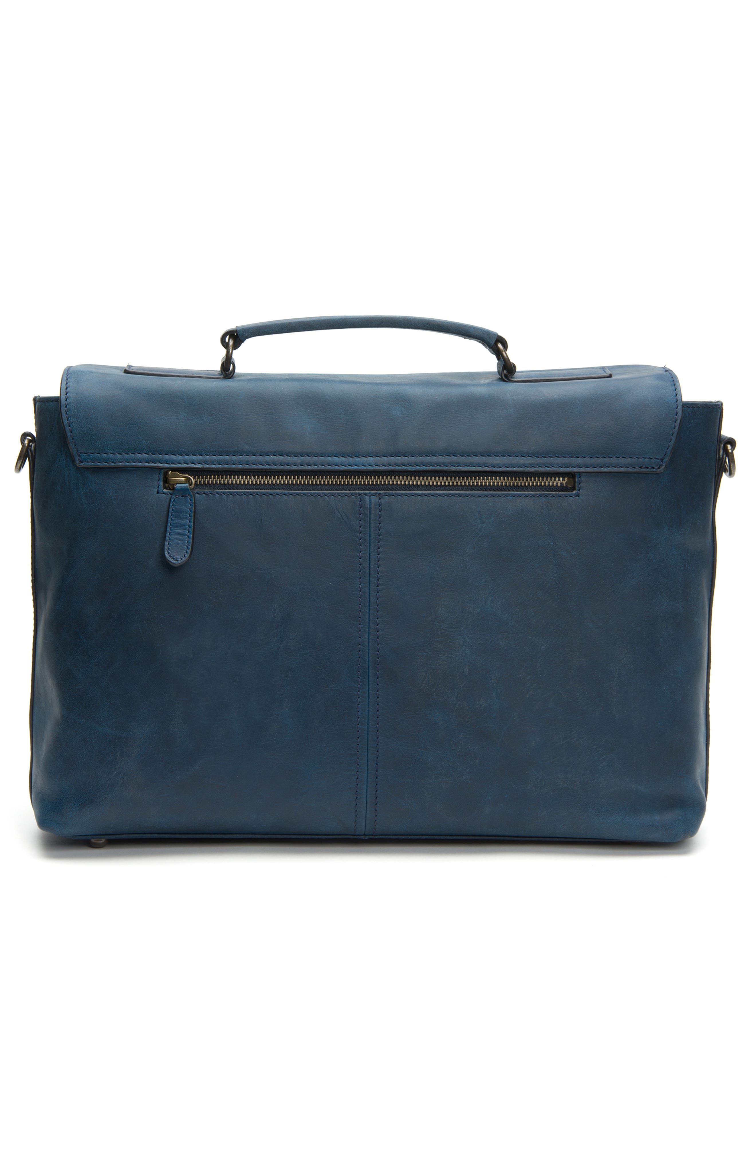FRYE, Logan Leather Briefcase, Alternate thumbnail 4, color, NAVY