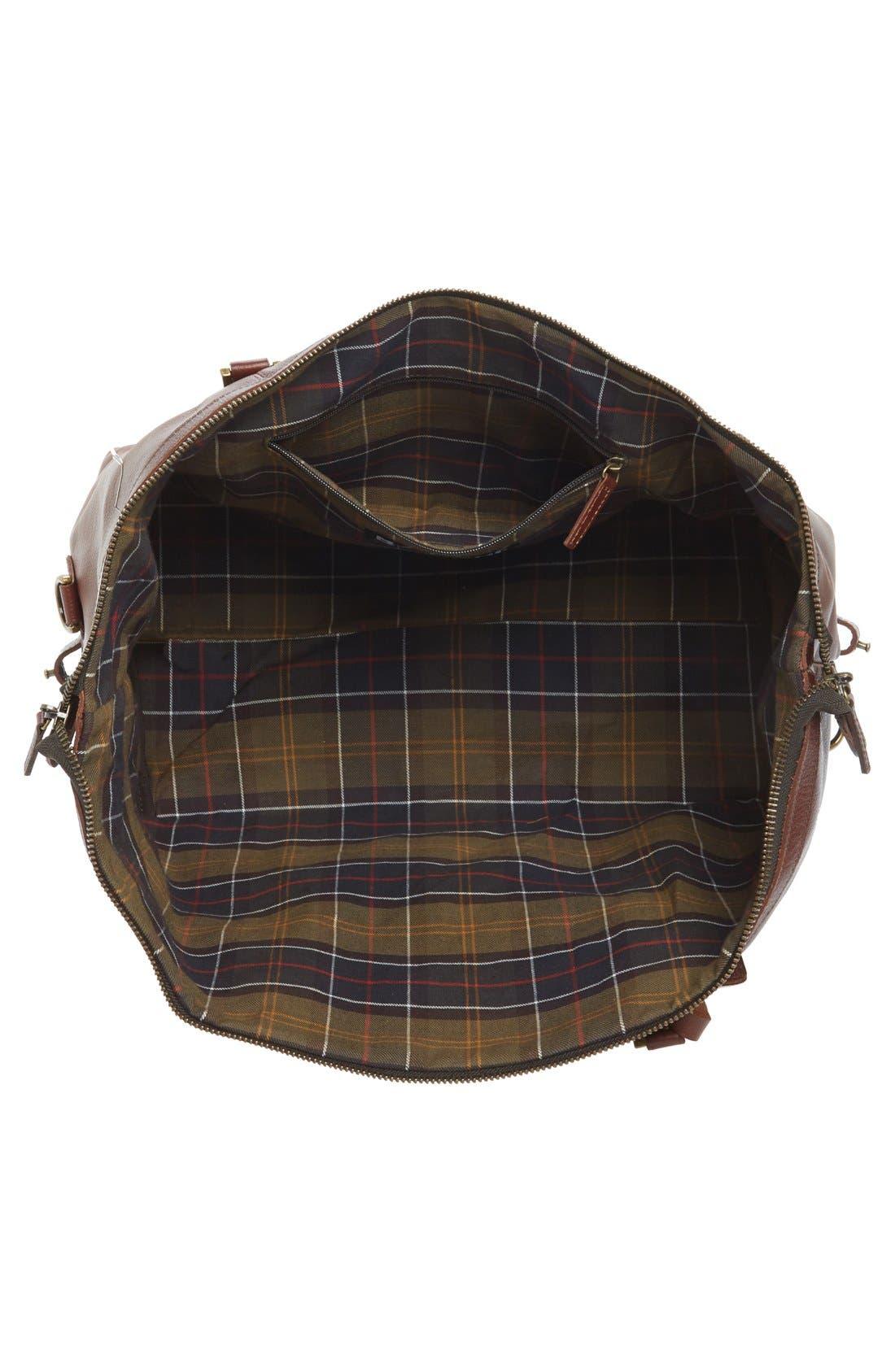 BARBOUR, Leather Travel Bag, Alternate thumbnail 2, color, DARK BROWN