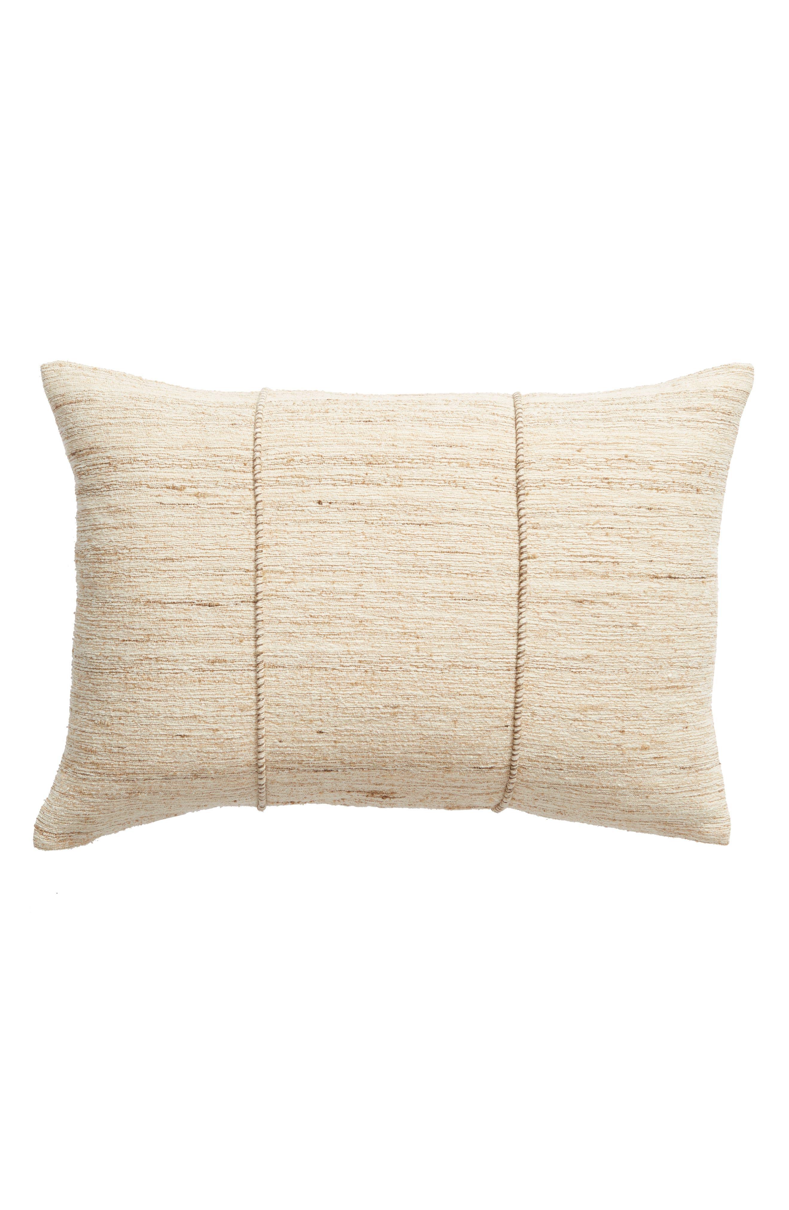 TREASURE & BOND, Pieced Cotton & Silk Accent Pillow, Main thumbnail 1, color, NATURAL MULTI