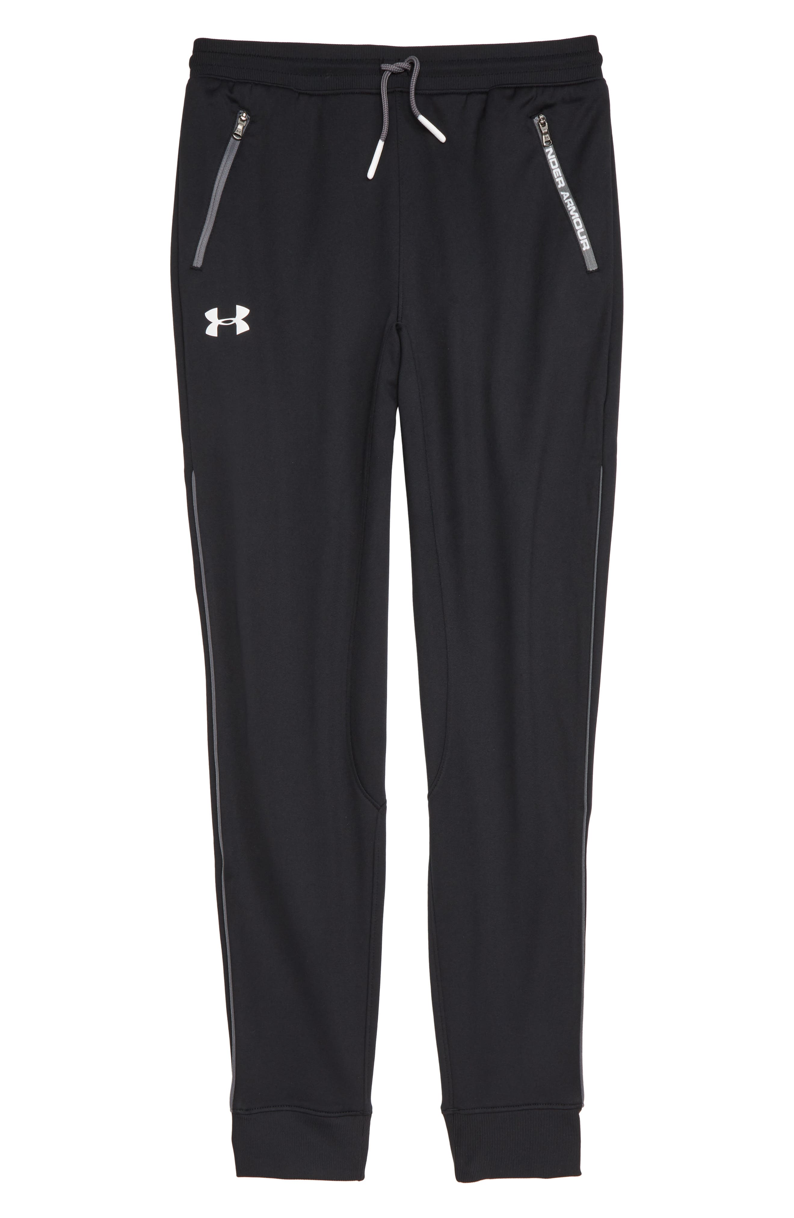 UNDER ARMOUR, Pennant Tapered Sweatpants, Main thumbnail 1, color, BLACK / / WHITE