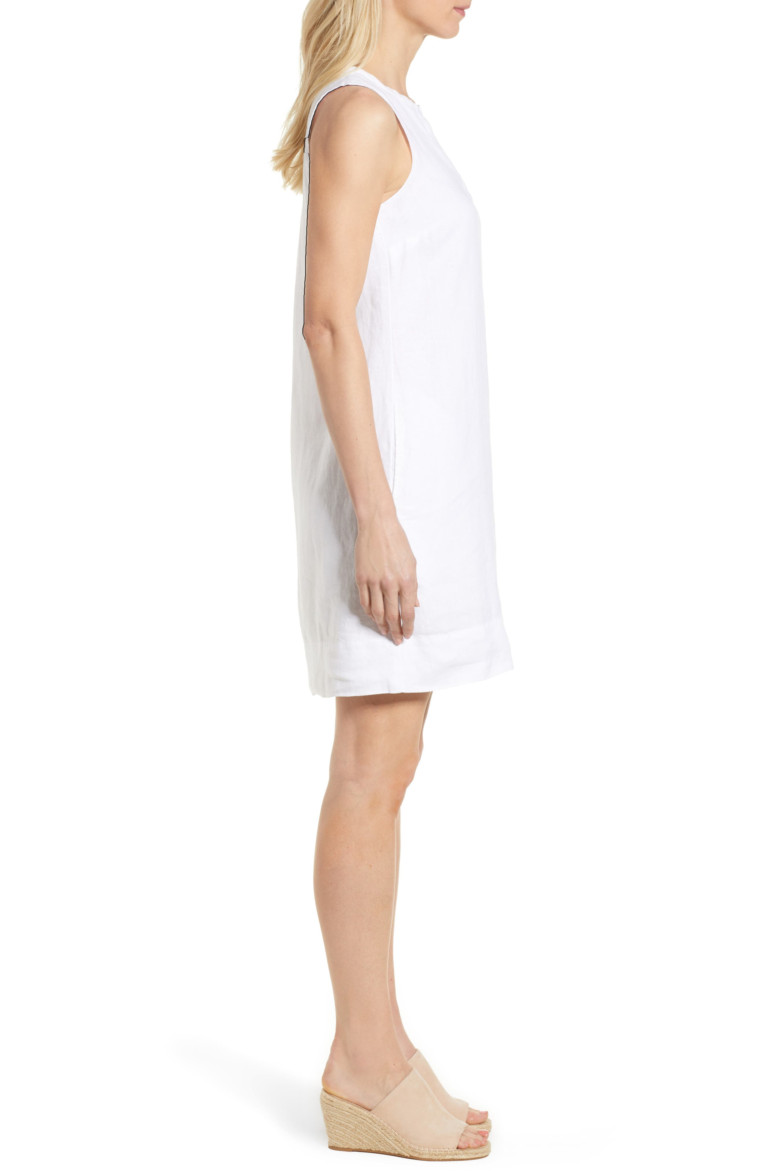 TOMMY BAHAMA, Sea Glass Linen Shift Dress, Alternate thumbnail 4, color, WHITE