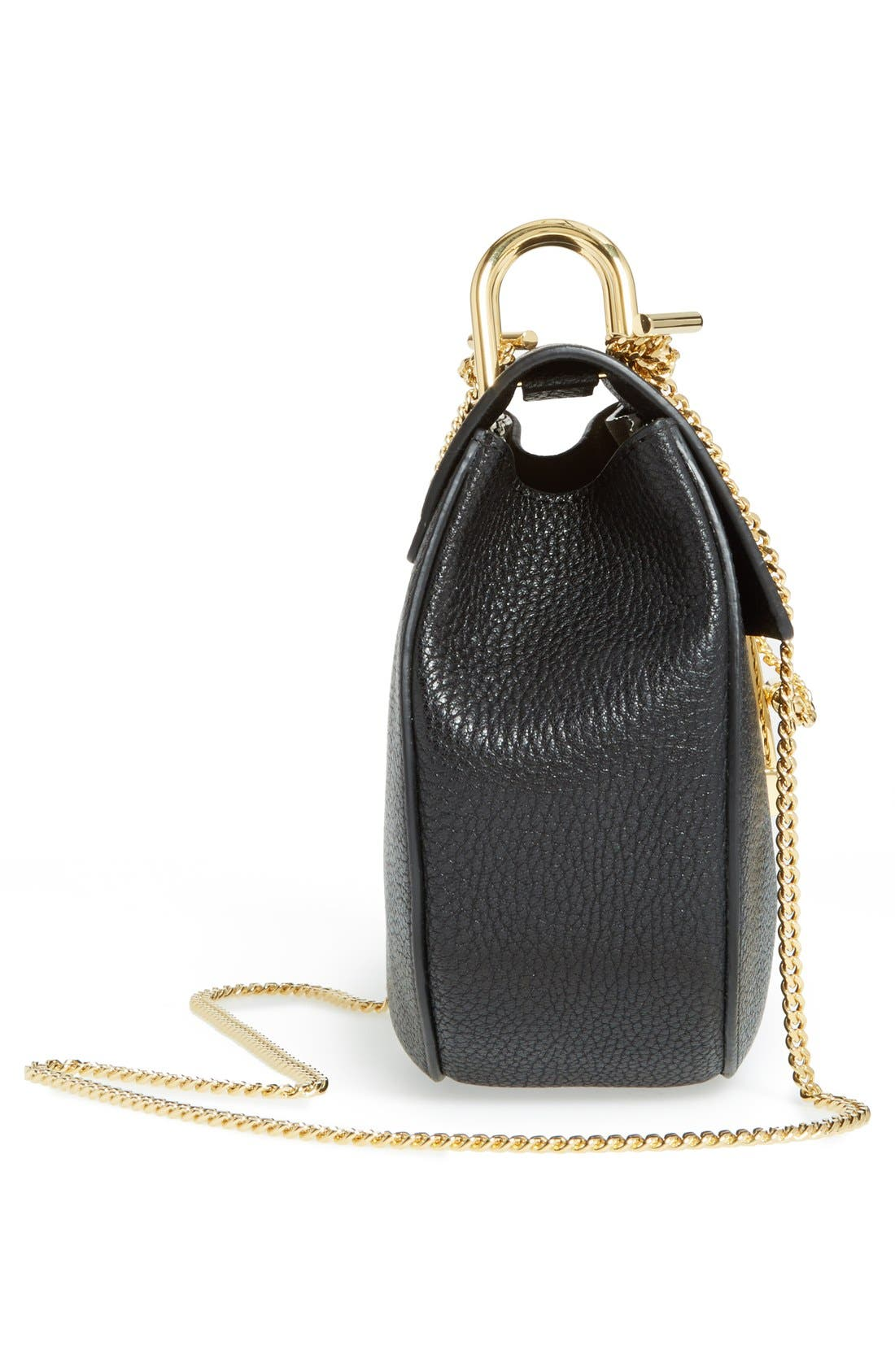 CHLOÉ, Drew Leather Shoulder Bag, Alternate thumbnail 4, color, BLACK GOLD HRDWRE