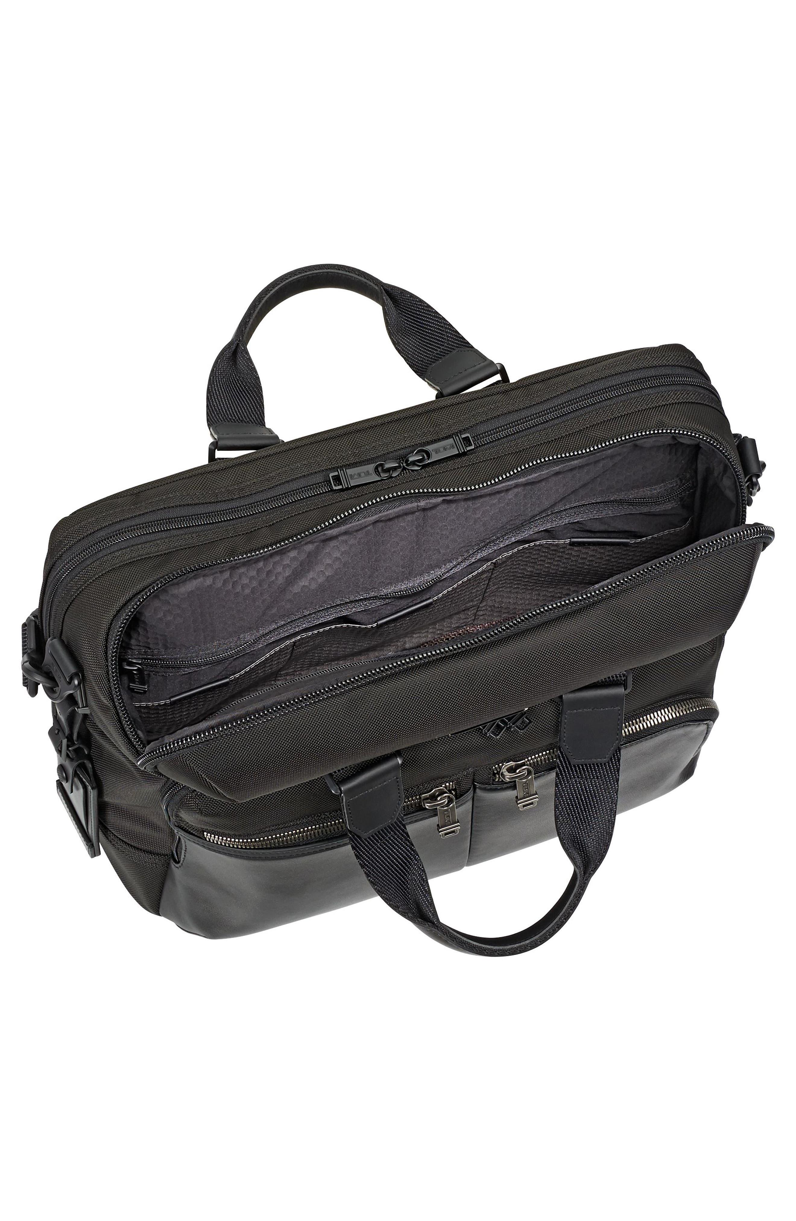 TUMI, Alpha Bravo - Patterson Briefcase, Alternate thumbnail 3, color, BLACK
