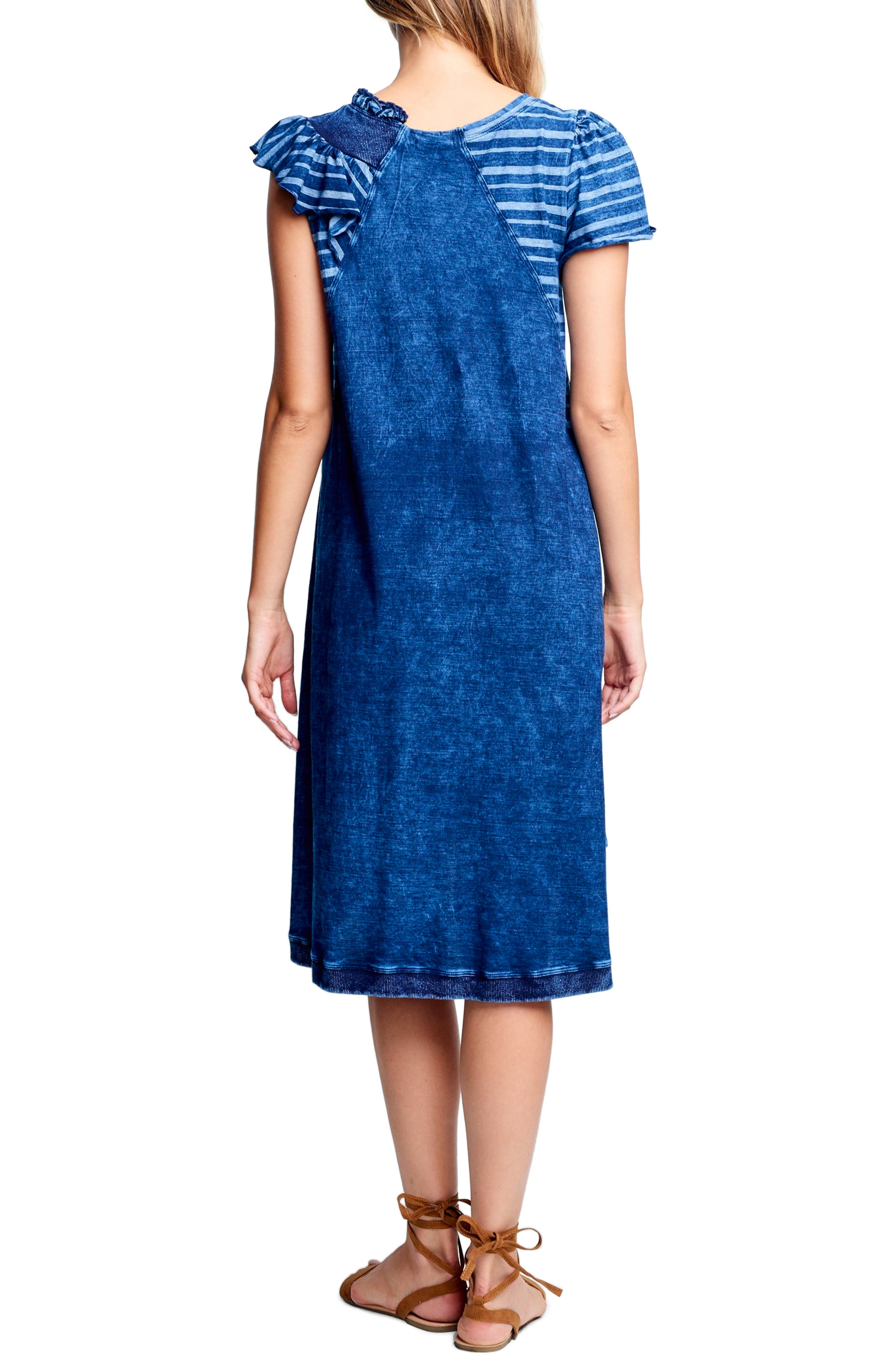 MATERNAL AMERICA, Asymmetrical Ruffle Neck Maternity Dress, Alternate thumbnail 2, color, STRIPE INDIGO