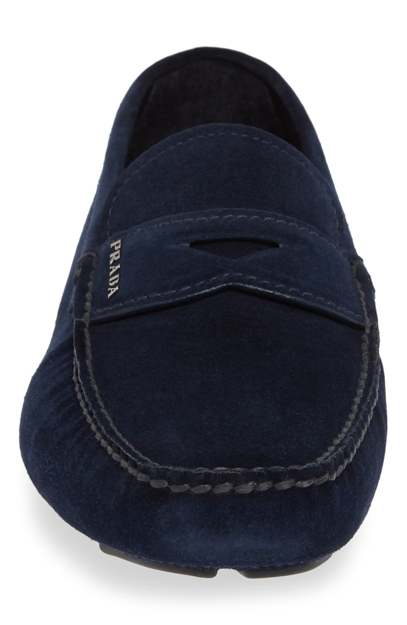 PRADA, Driving Shoe, Alternate thumbnail 4, color, OLTREMARE BLUE