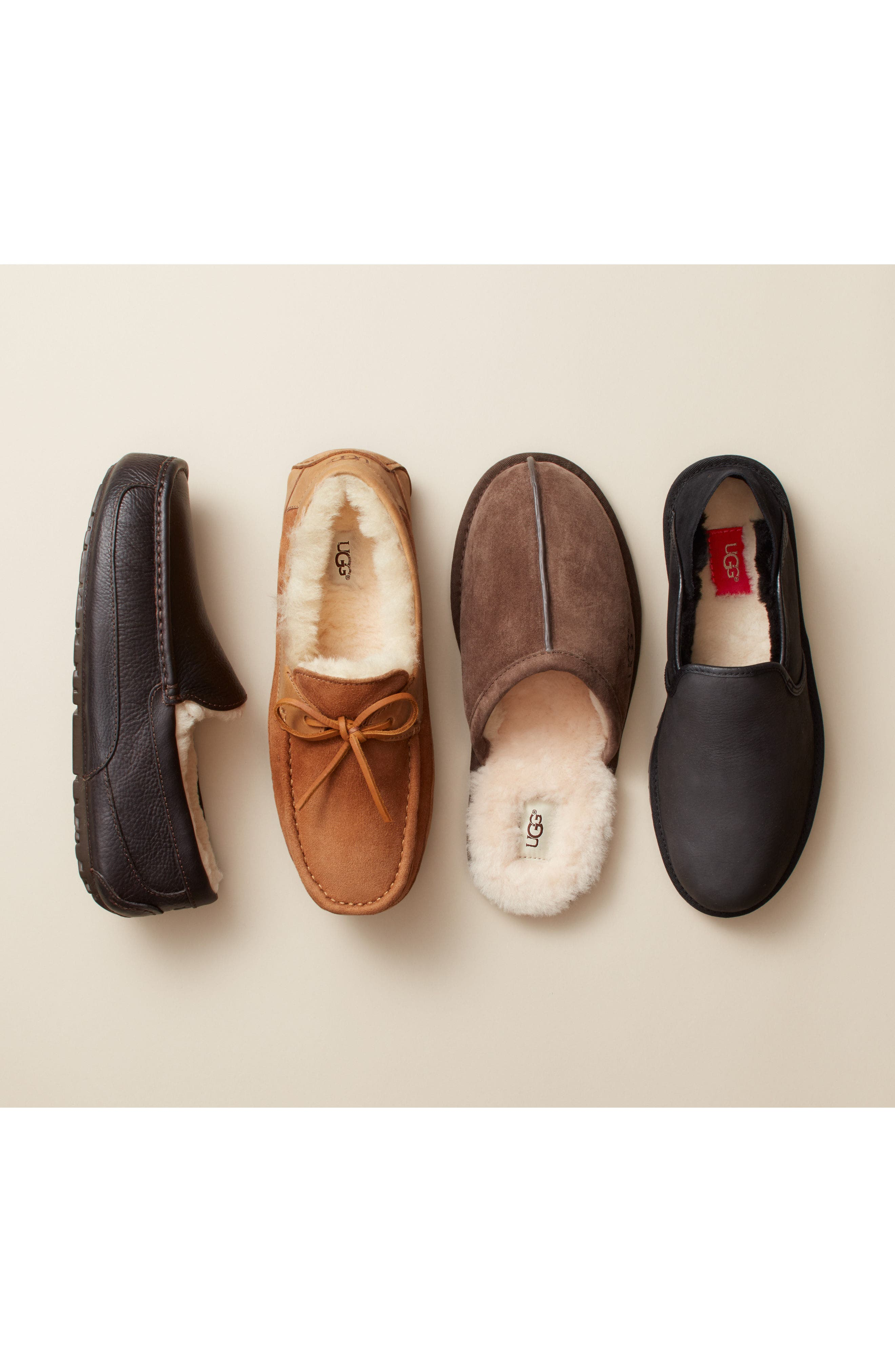 UGG<SUP>®</SUP>, Ascot Suede Slipper, Alternate thumbnail 8, color, BLACK SUEDE