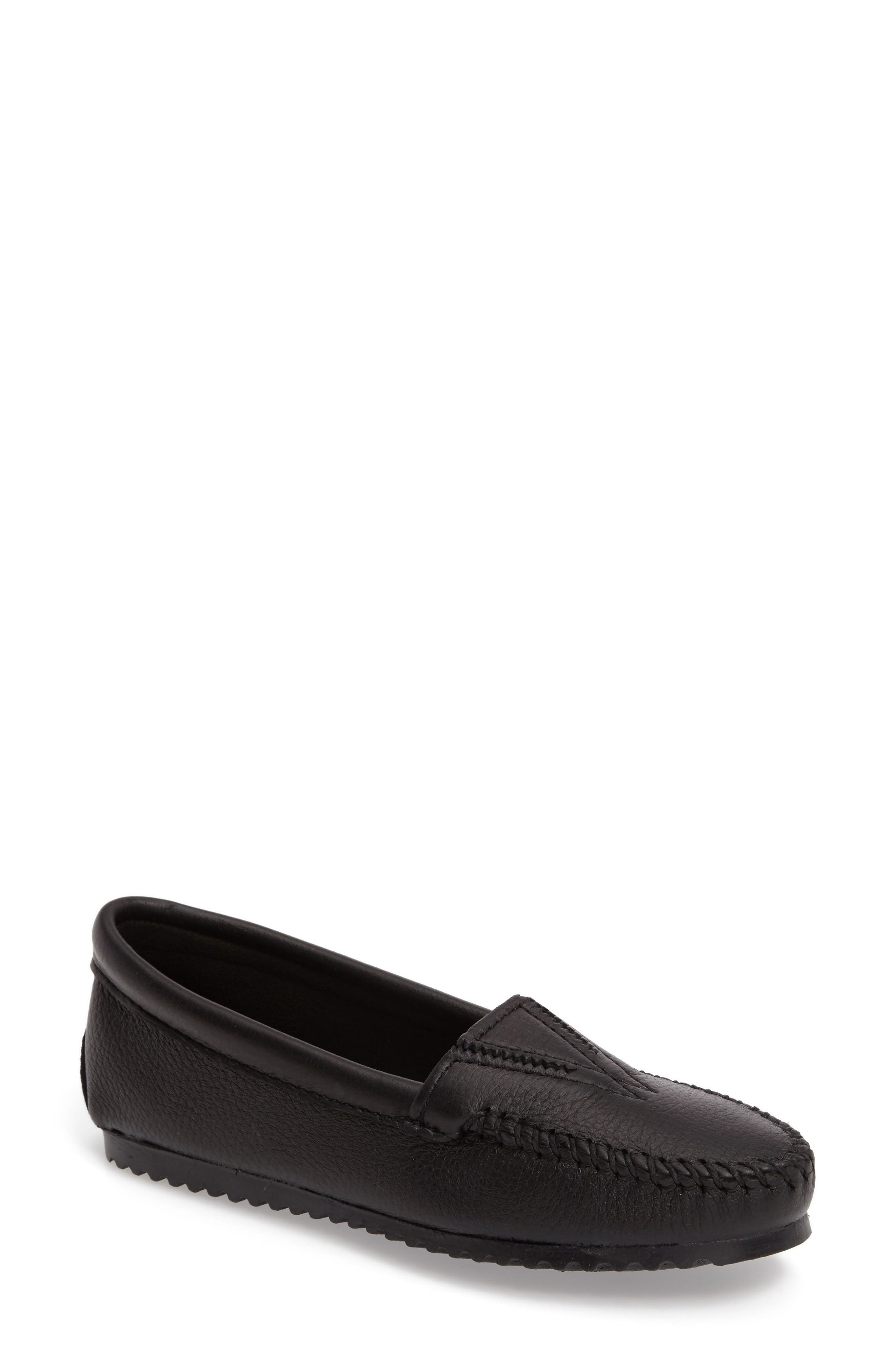 MINNETONKA Moccasin, Main, color, BLACK