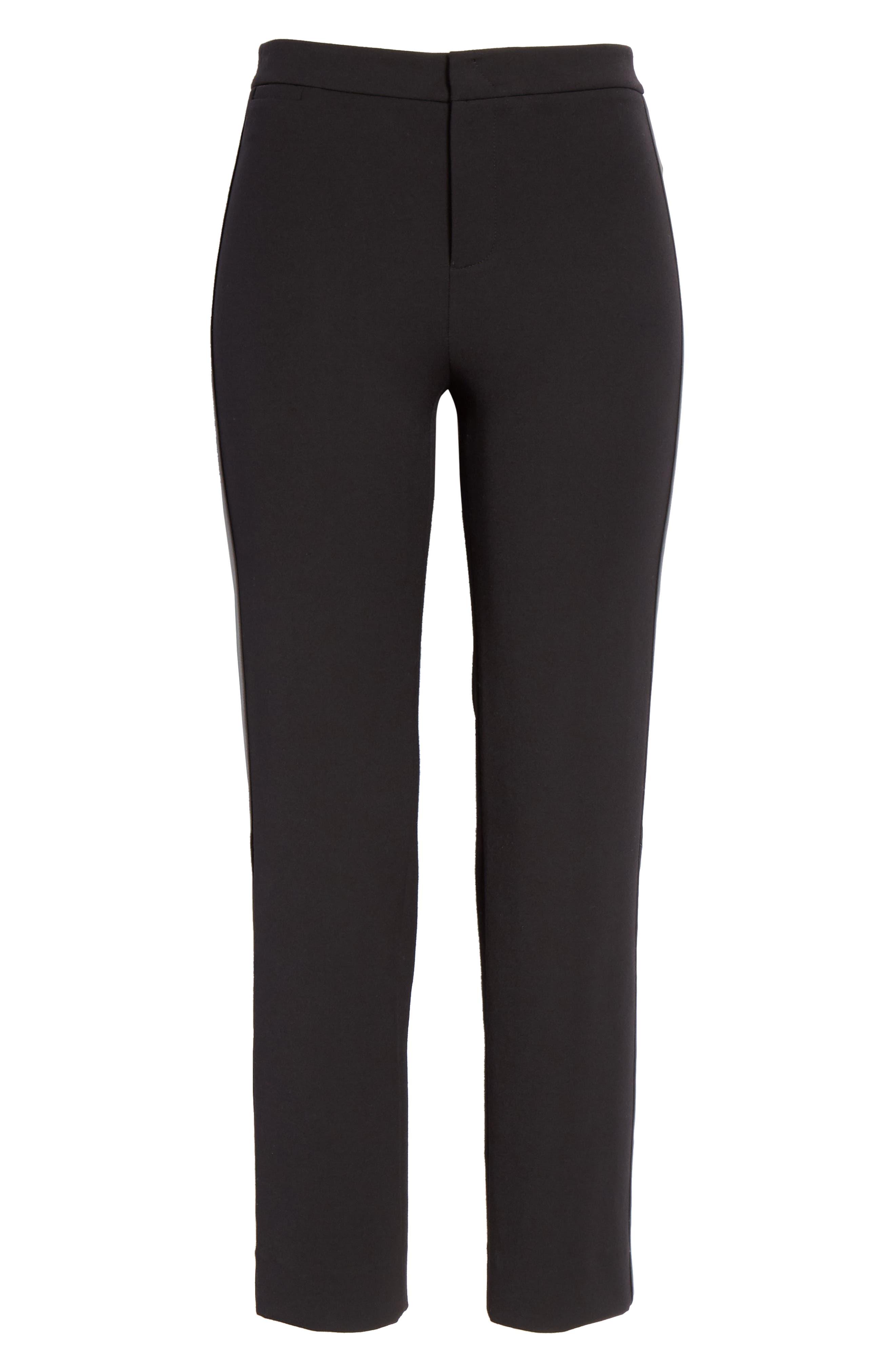 VINCE, Faux Leather Side Stripe Trousers, Alternate thumbnail 6, color, BLACK