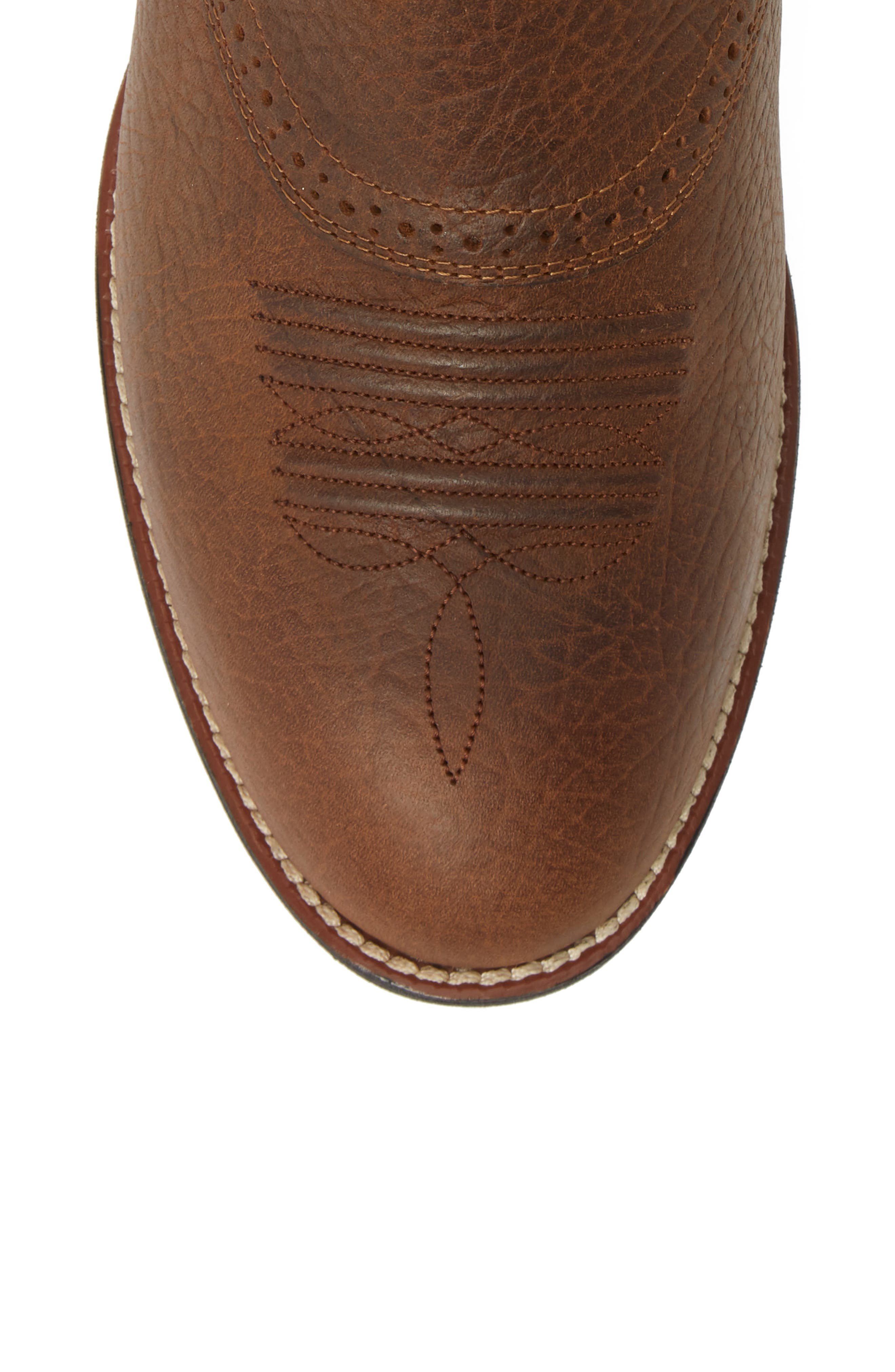 ARIAT, Heritage Stockman Cowboy Boot, Alternate thumbnail 5, color, BROWN/ BEIGE LEATHER