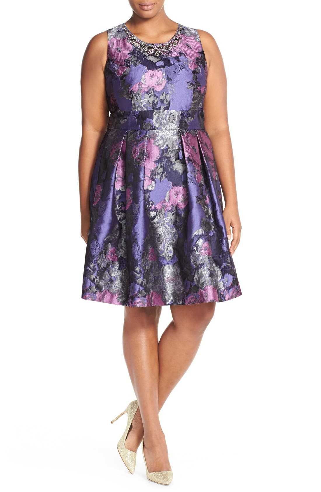 ELIZA J, Embellished Neck Metallic Jacquard Fit & Flare Dress, Alternate thumbnail 3, color, 523