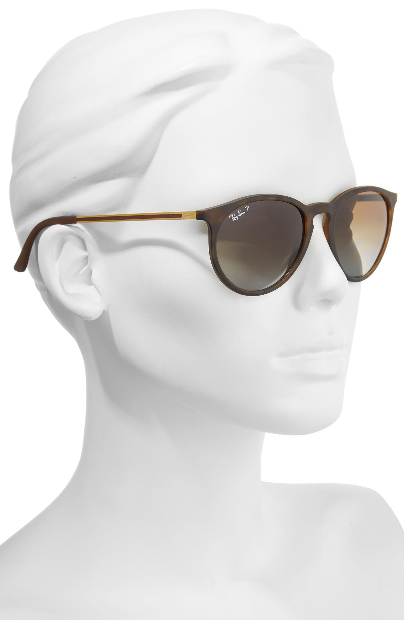 RAY-BAN, 53mm Polarized Round Sunglasses, Alternate thumbnail 2, color, BROWN/ GREY POLAR