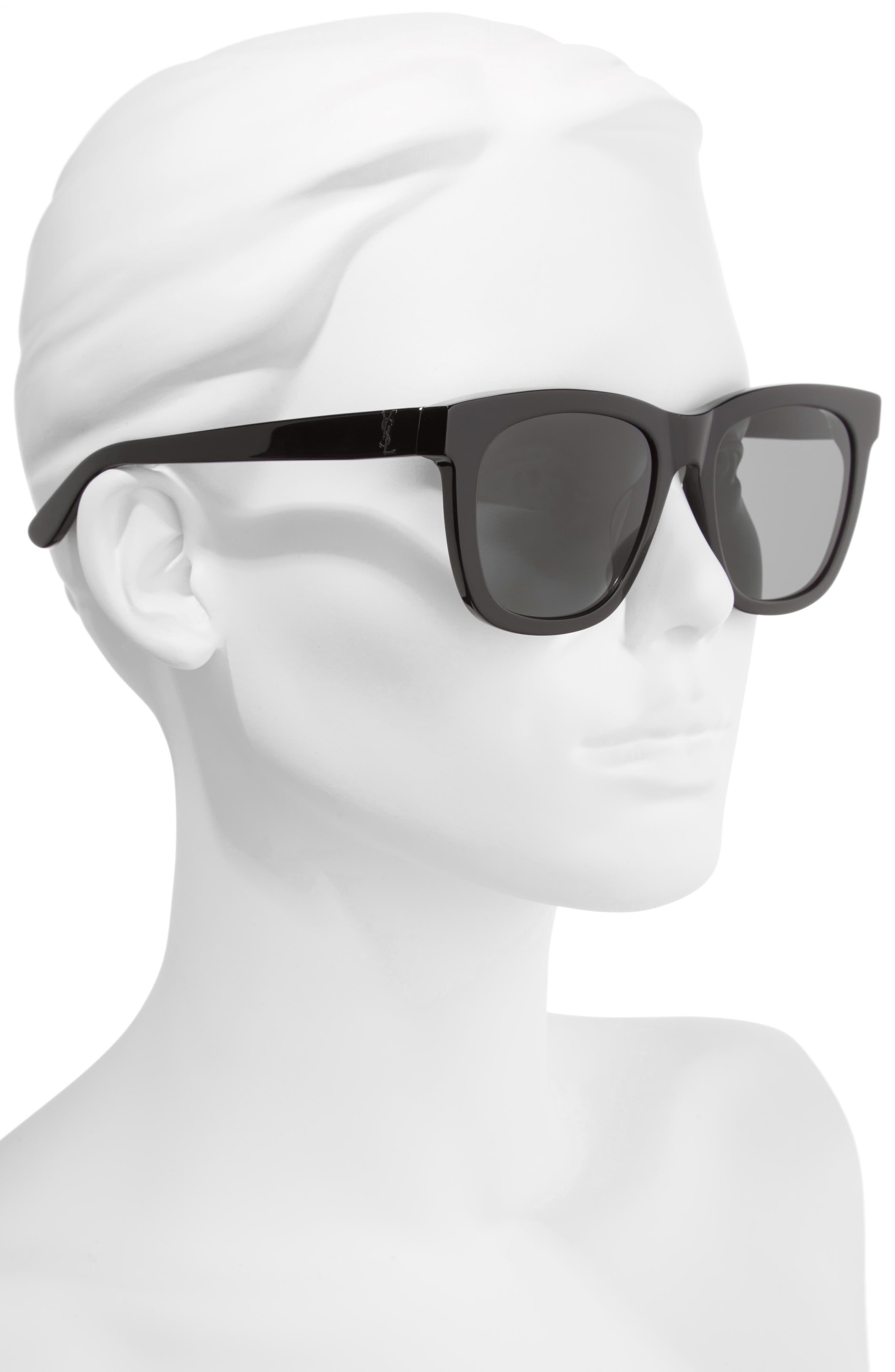 SAINT LAURENT, 55mm Sunglasses, Alternate thumbnail 2, color, BLACK