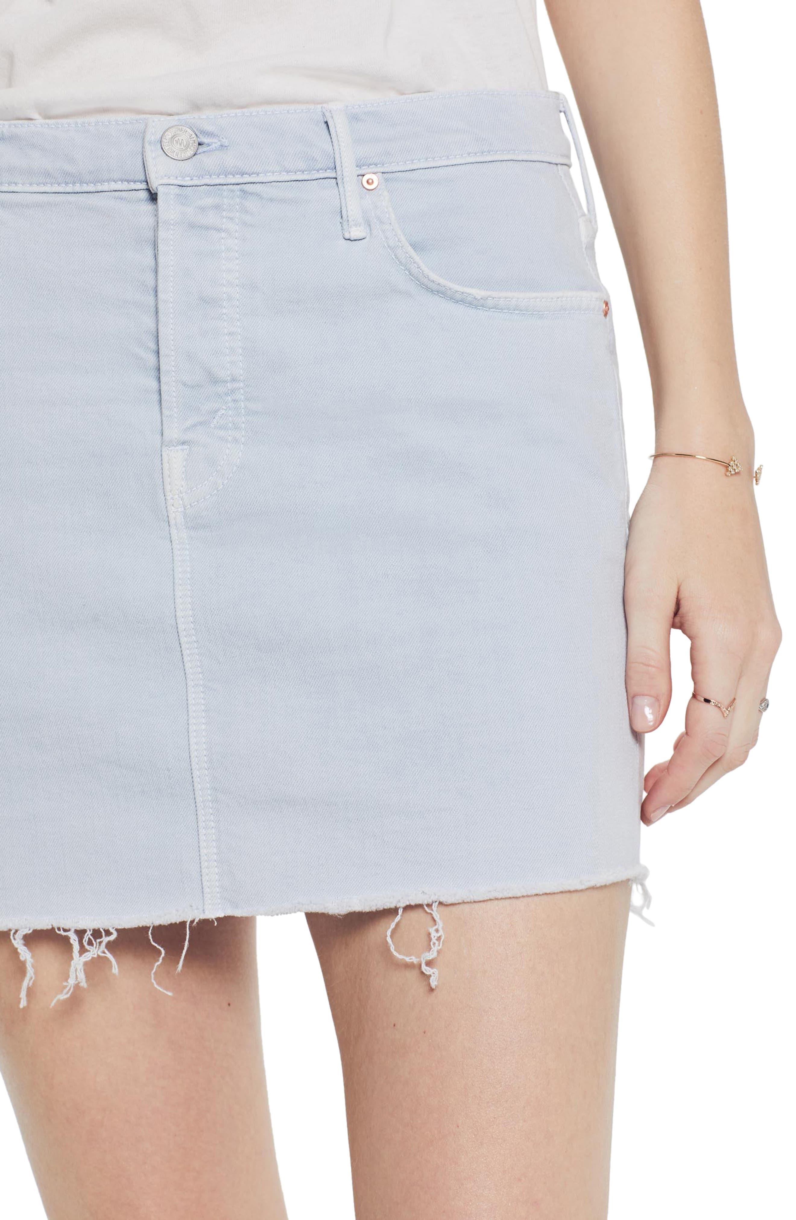 MOTHER, The Vagabond Cutoff Denim Miniskirt, Alternate thumbnail 4, color, 450