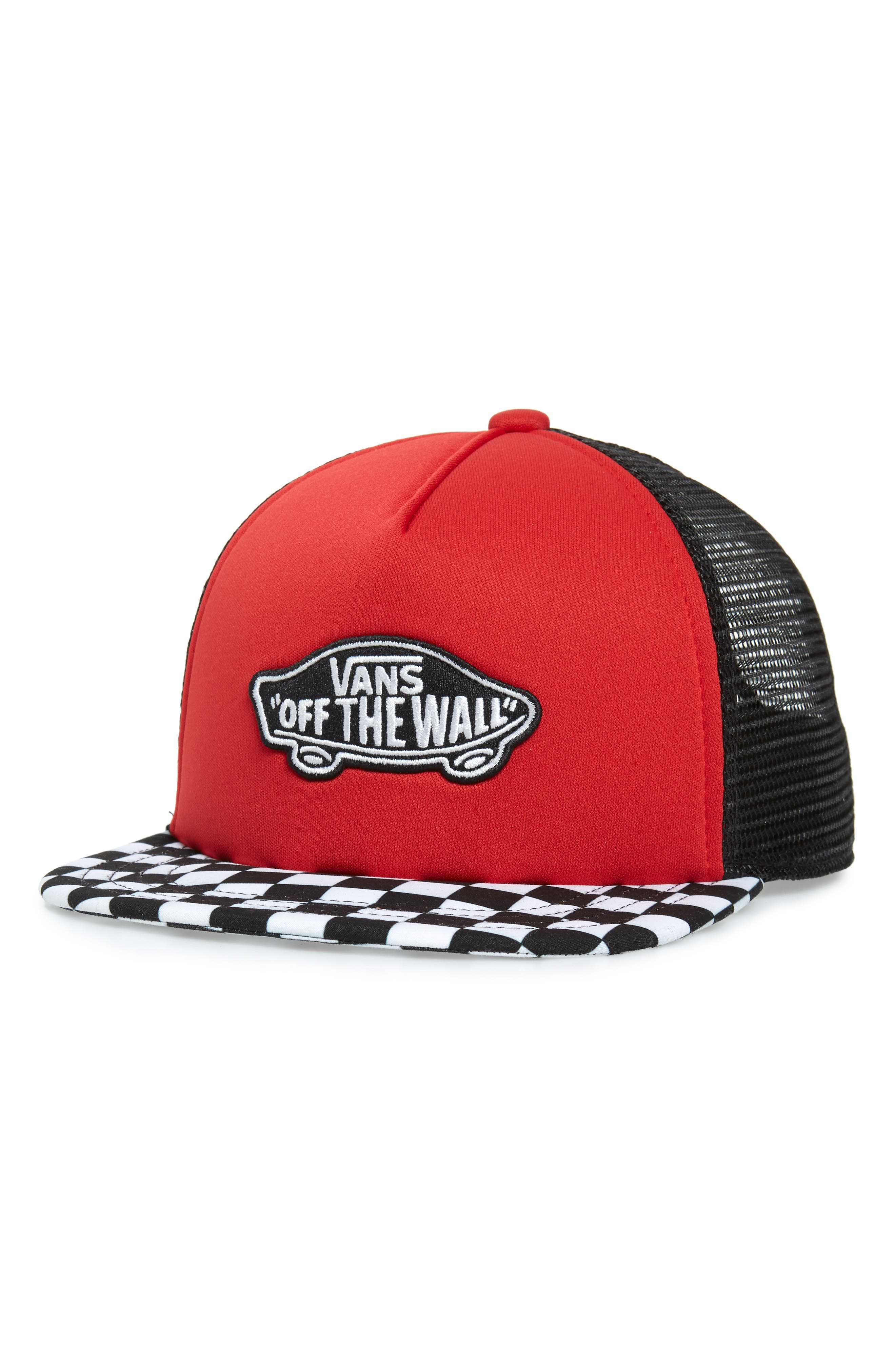 VANS, Classic Patch Trucker Hat, Main thumbnail 1, color, RACING RED