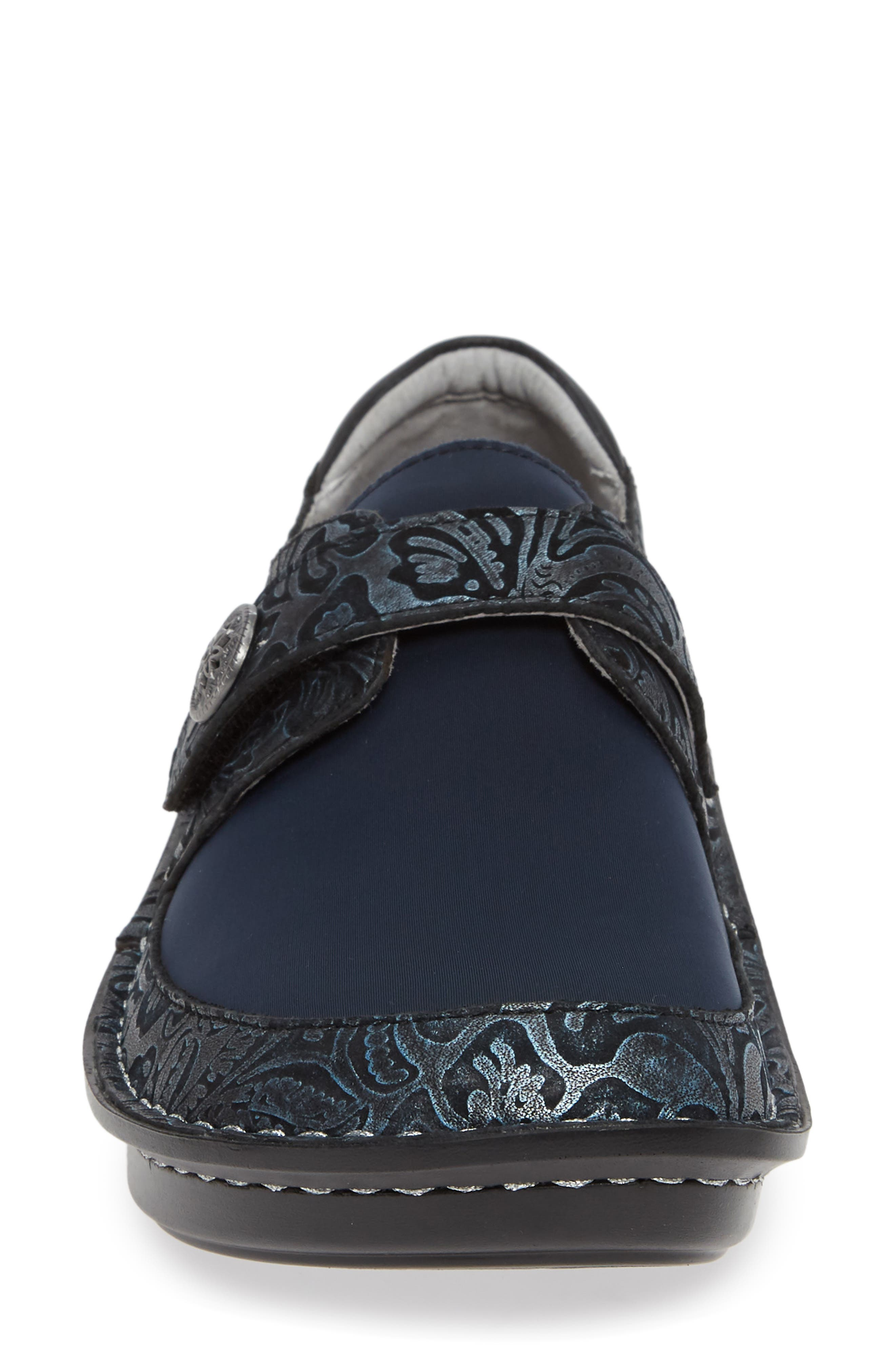 ALEGRIA, Brenna Slip-On, Alternate thumbnail 4, color, NAVY SWISH LEATHER