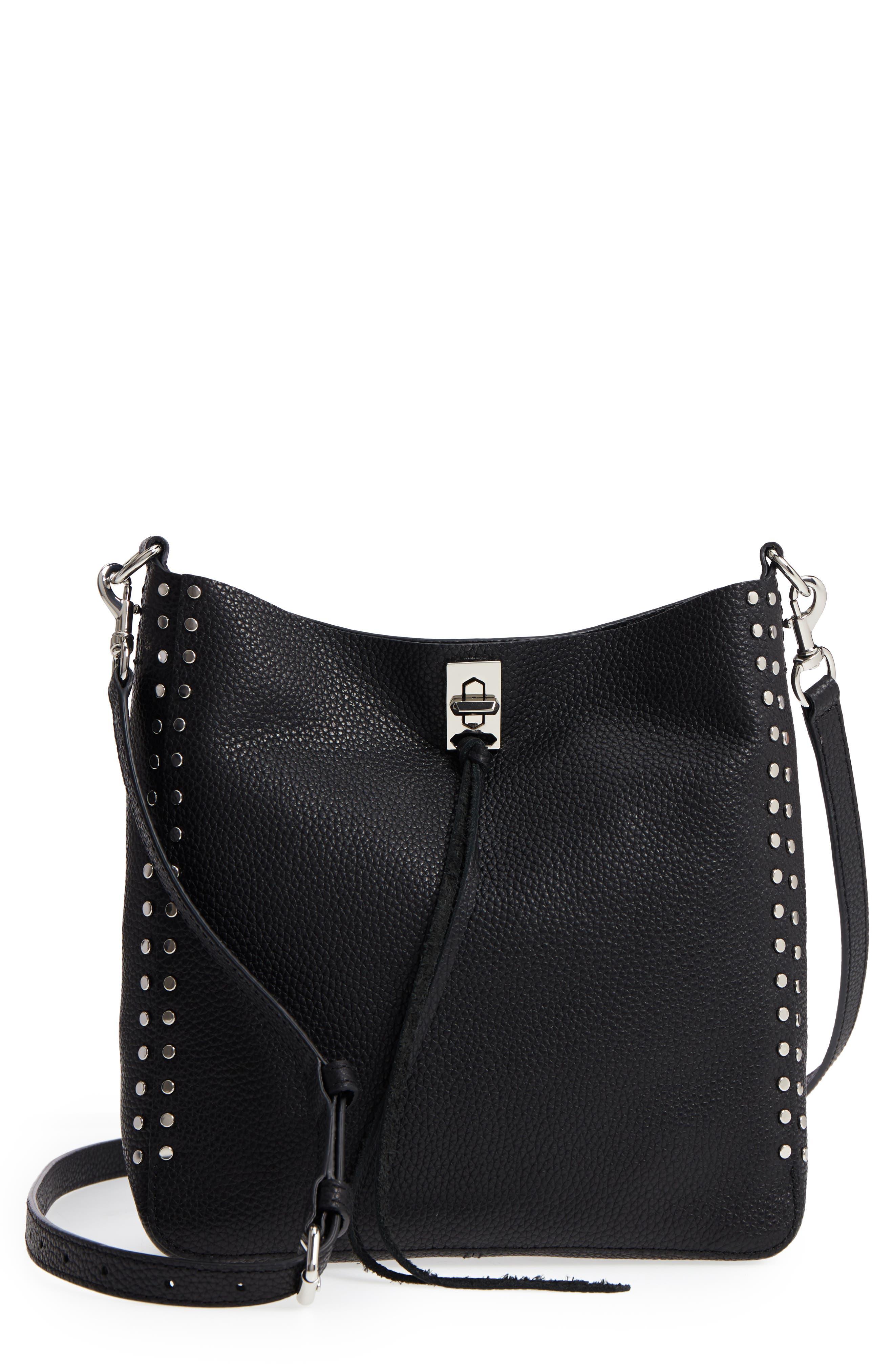 REBECCA MINKOFF Small Darren Leather Feed Bag, Main, color, 001