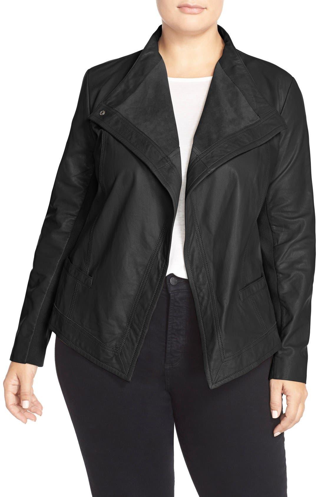 SEJOUR, Asymmetrical Leather Jacket, Main thumbnail 1, color, 002