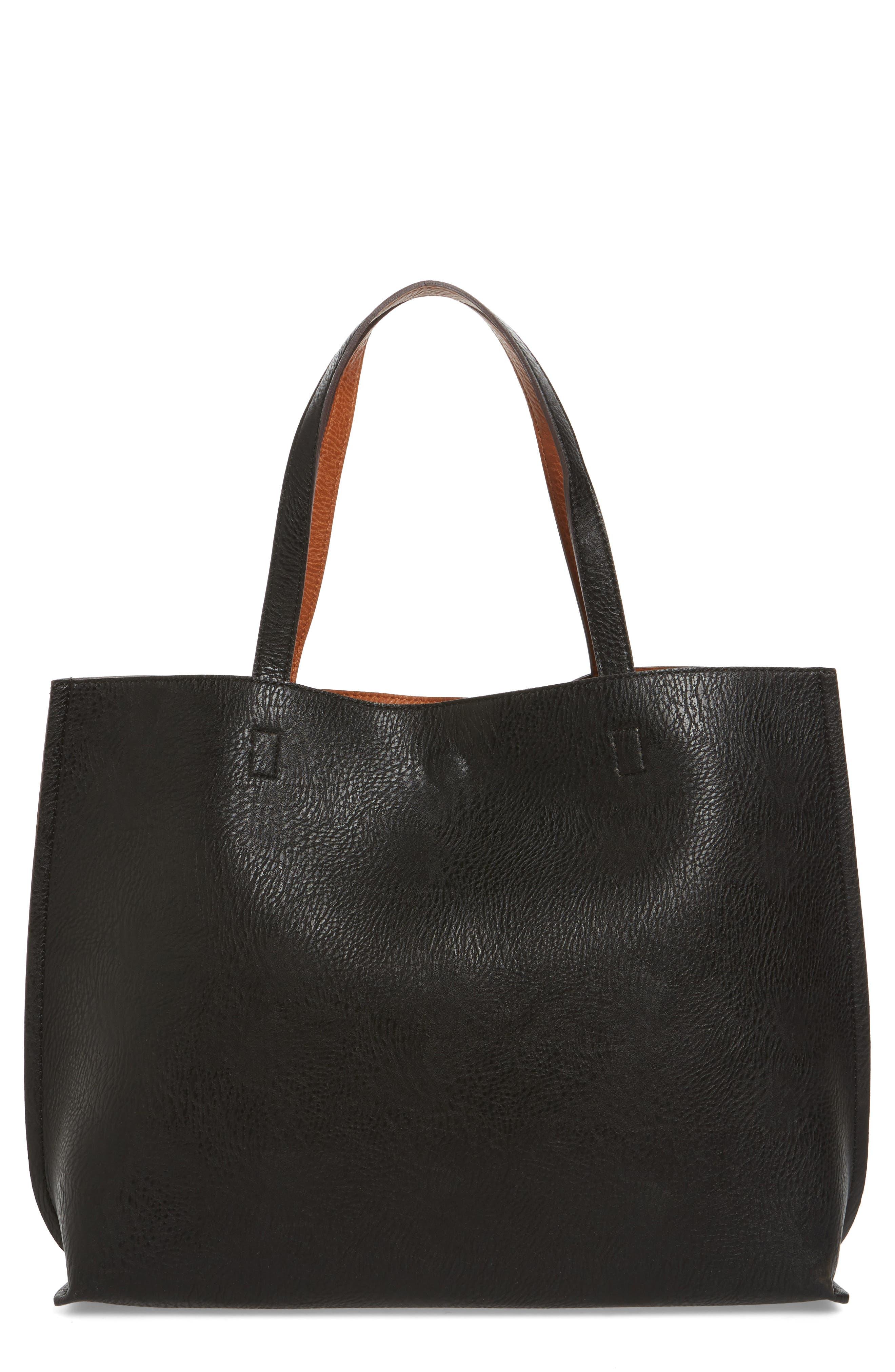 STREET LEVEL, Reversible Faux Leather Tote & Wristlet, Main thumbnail 1, color, BLACK/ COGNAC