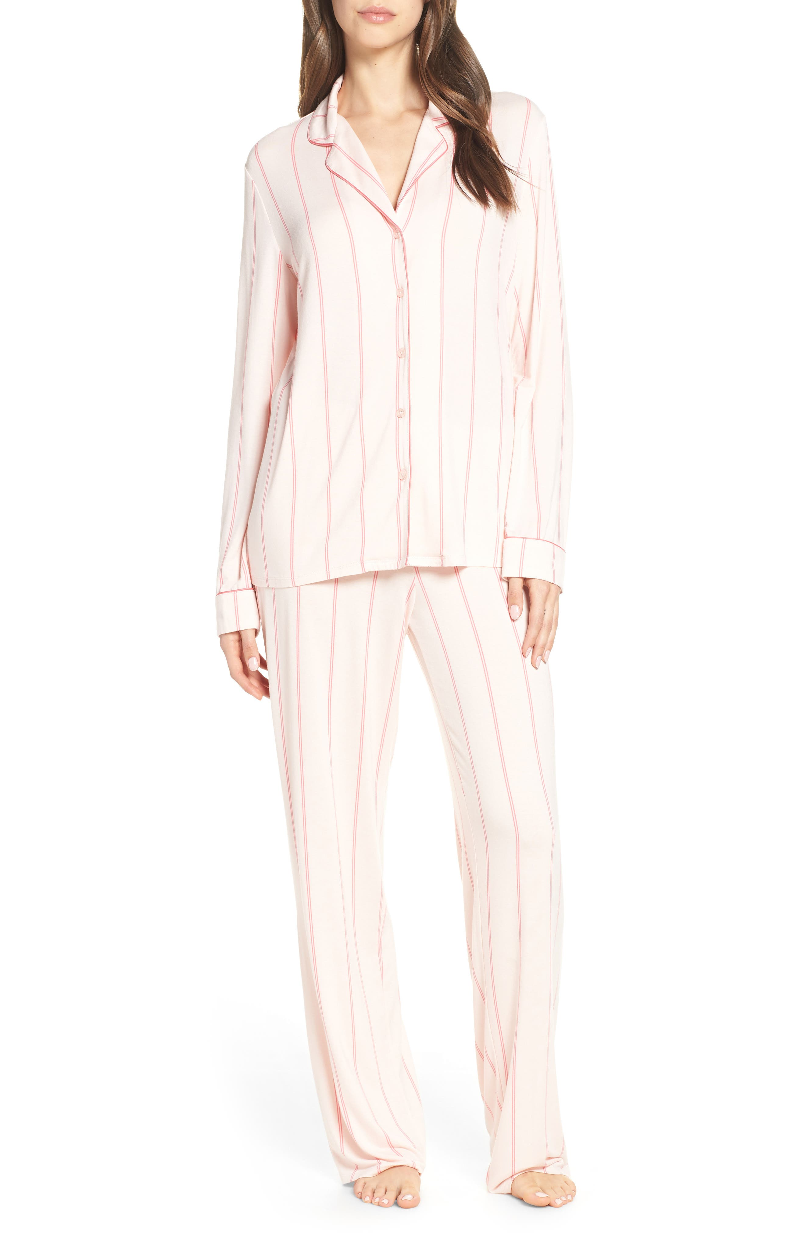 NORDSTROM LINGERIE, Moonlight Pajamas, Main thumbnail 1, color, PINK CRYSTAL MICRO STRIPE