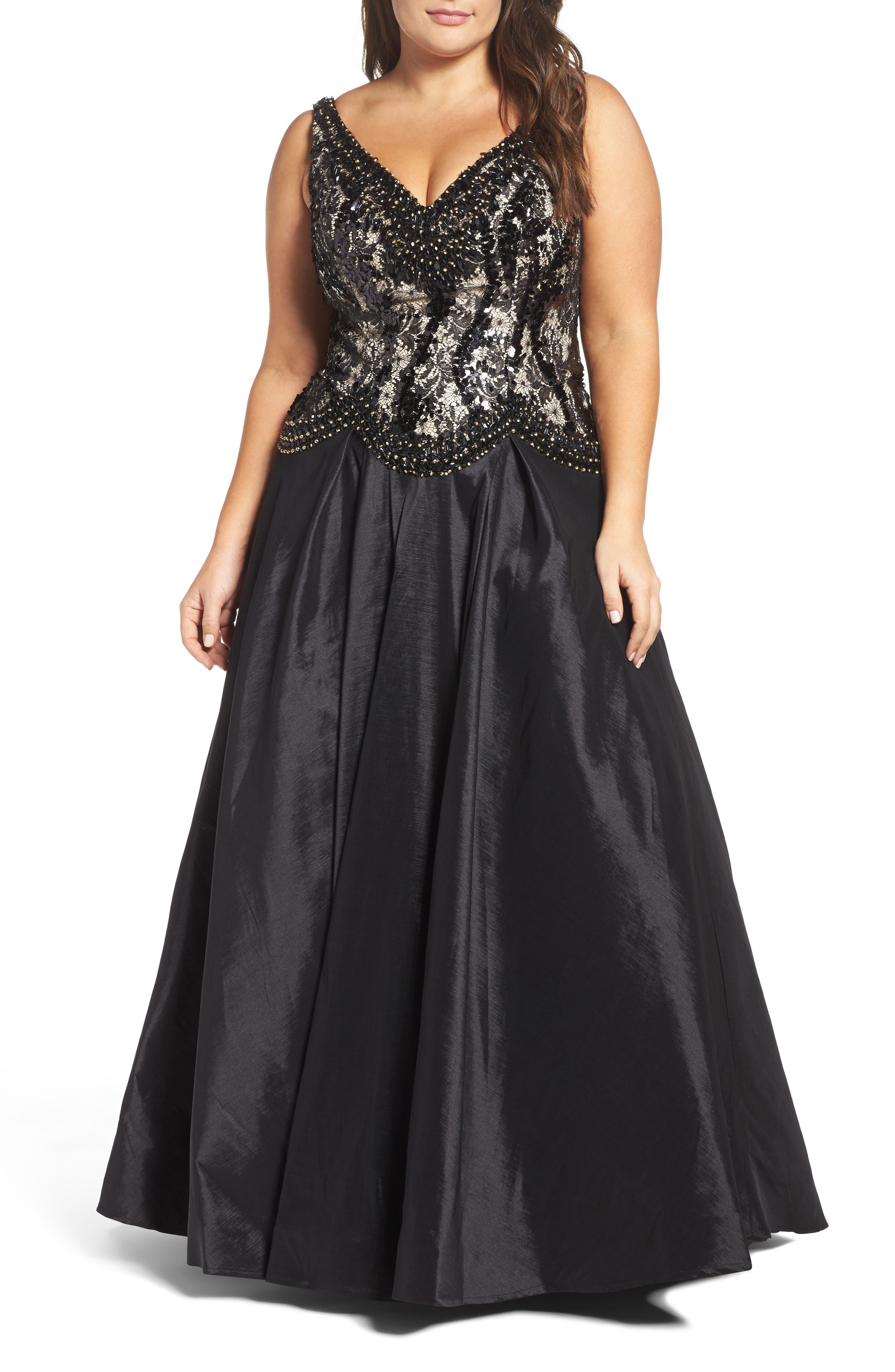 Plus Size MAC Duggal Lace & Taffeta Ballgown