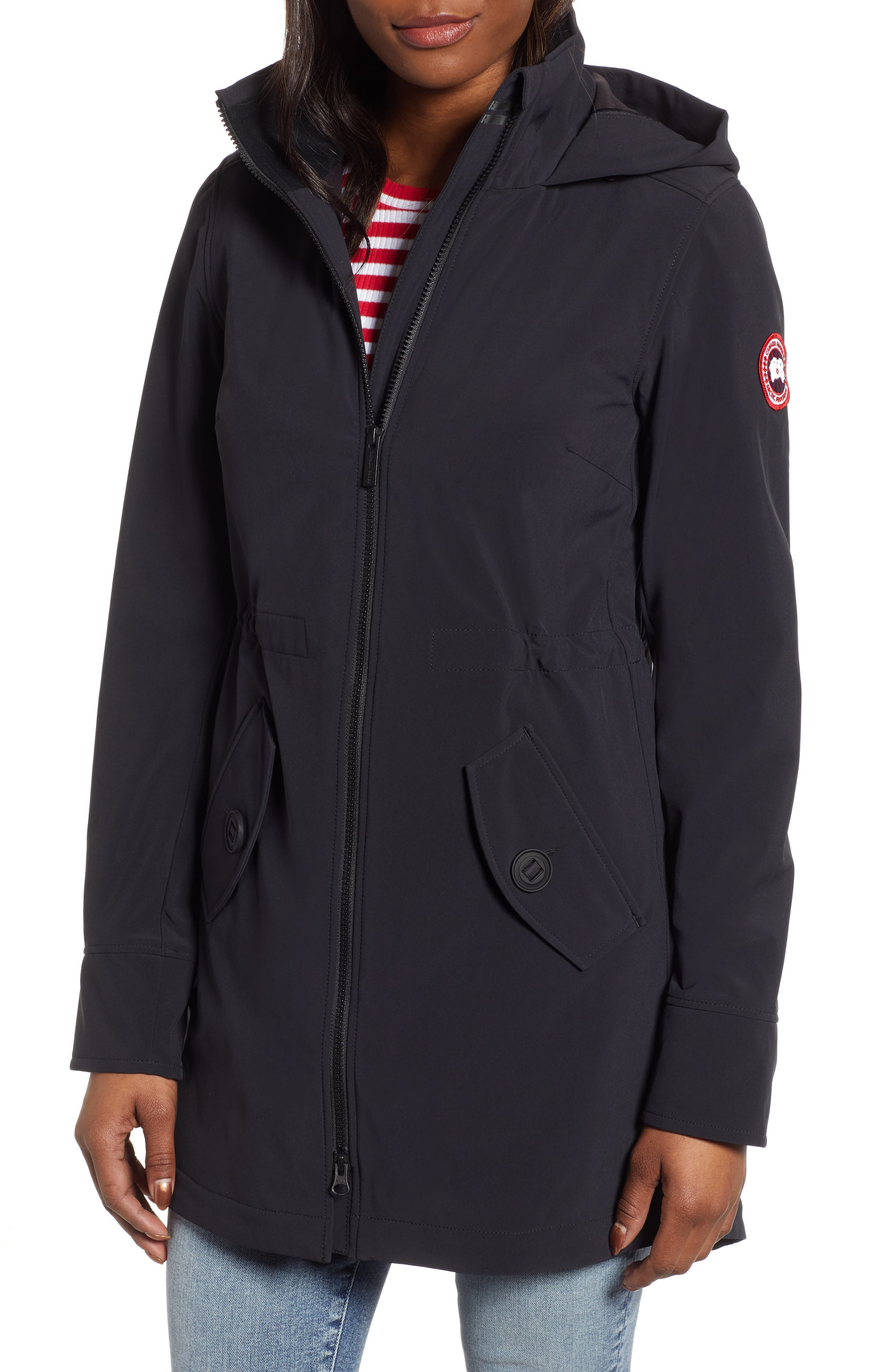 CANADA GOOSE, Avery Water Resistant Hooded Jacket, Main thumbnail 1, color, BLACK