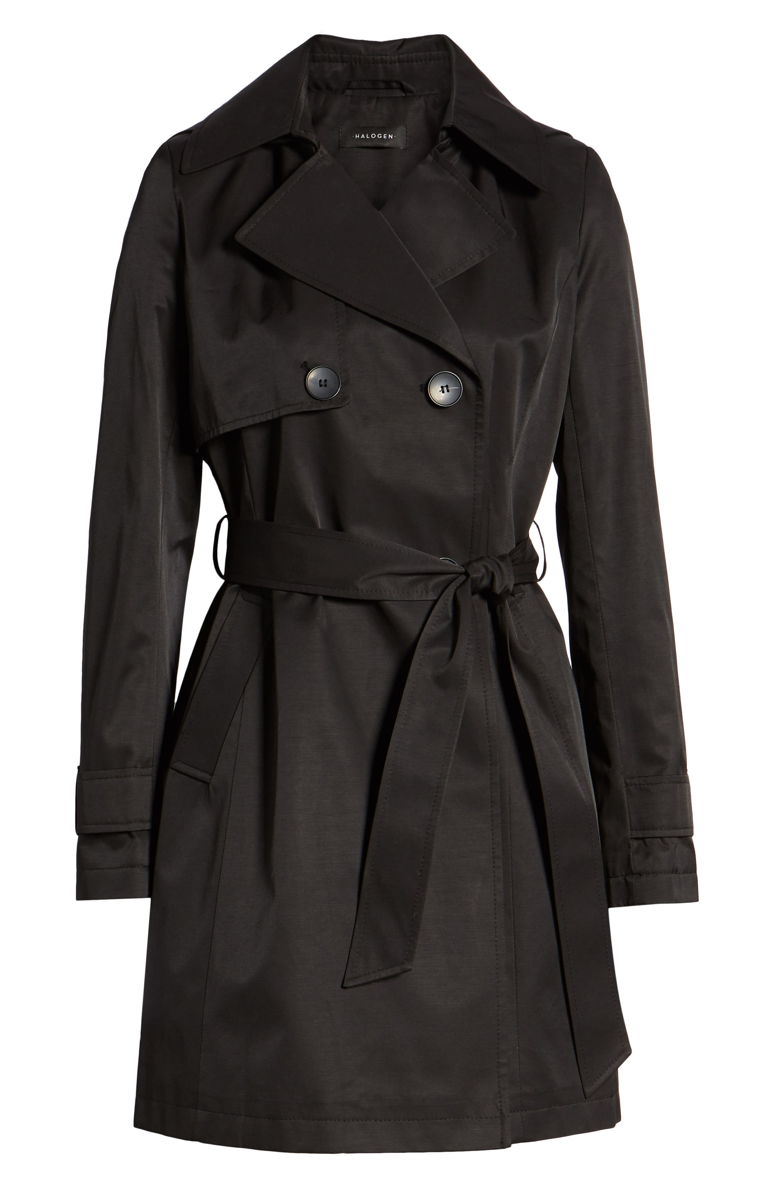 HALOGEN<SUP>®</SUP>, Hooded Trench Coat, Alternate thumbnail 6, color, BLACK