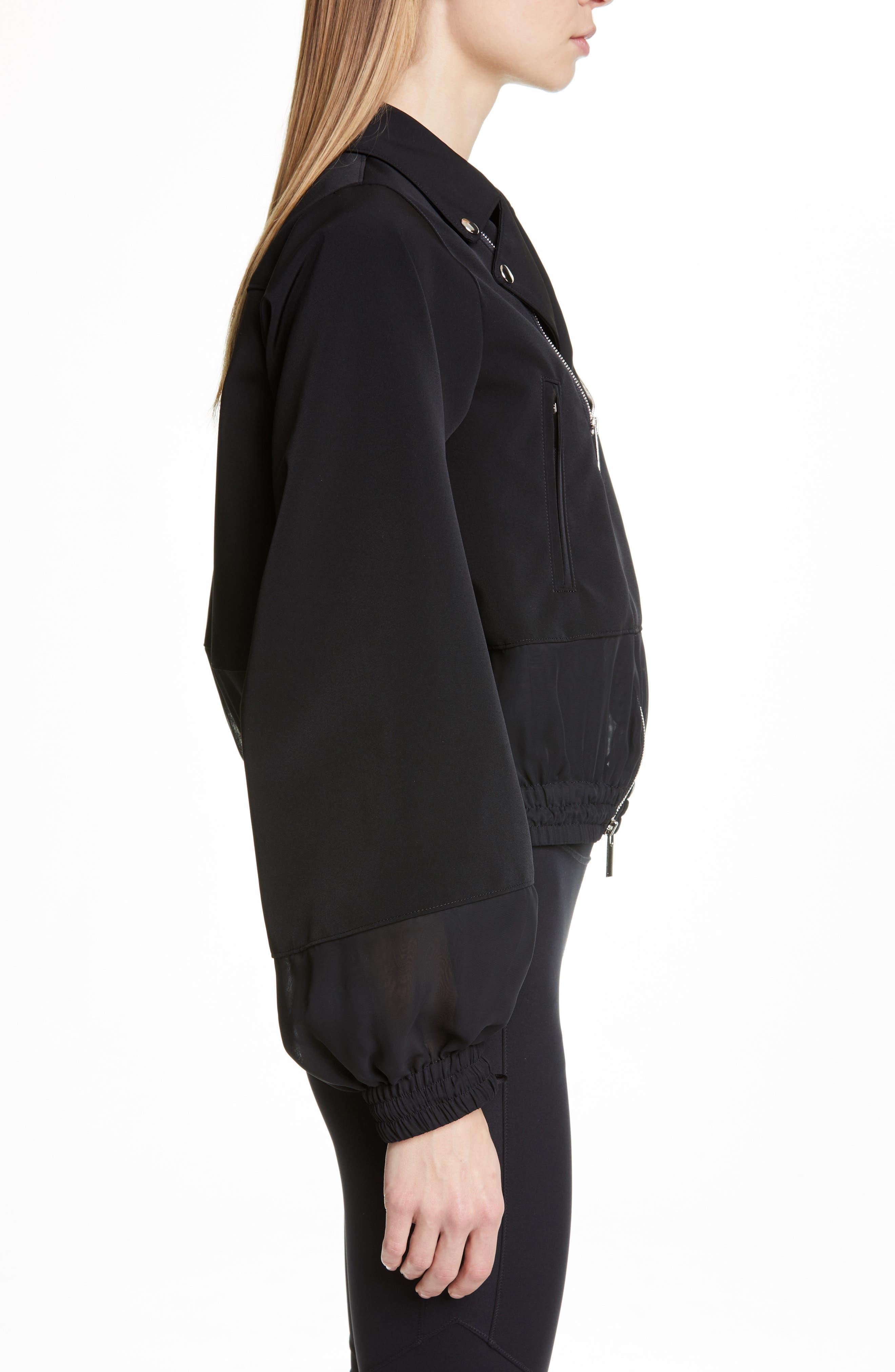 NOIR KEI NINOMIYA, Sheer Panel Moto Jacket, Alternate thumbnail 3, color, BLACK